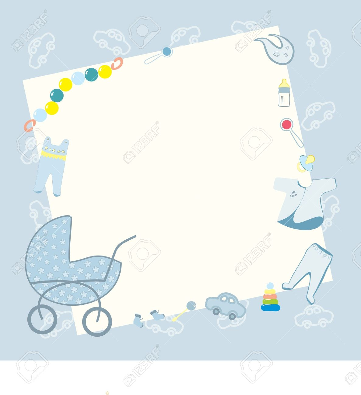 vector blue frame for newborn boy