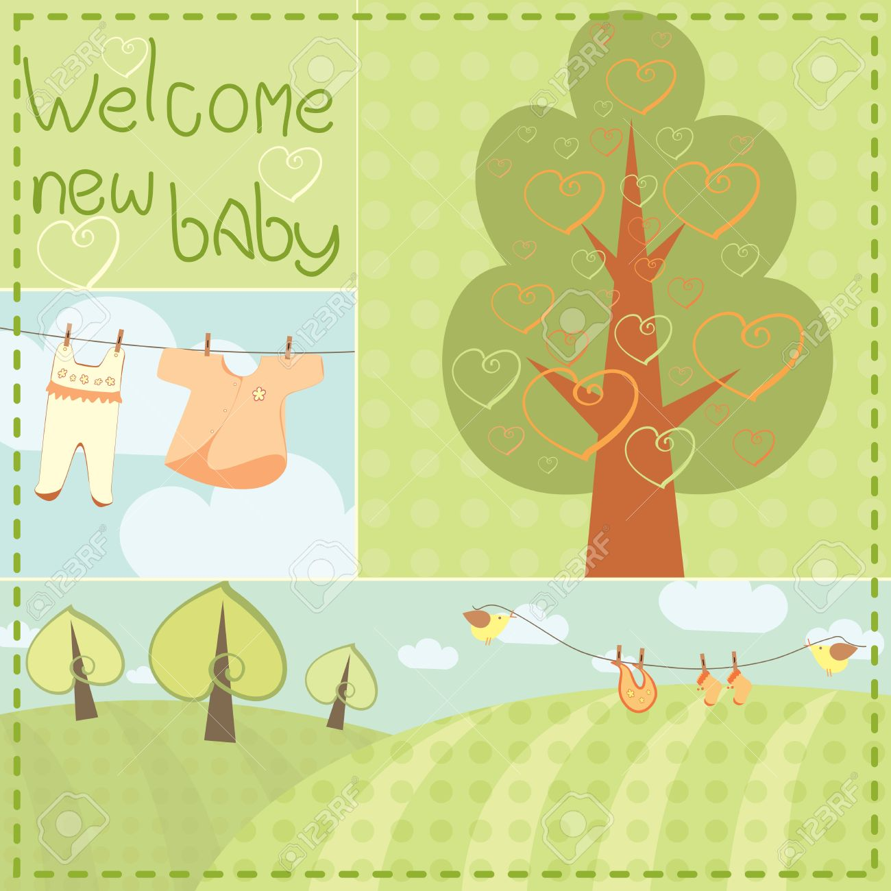 Template Greeting Card For Newborn Baby