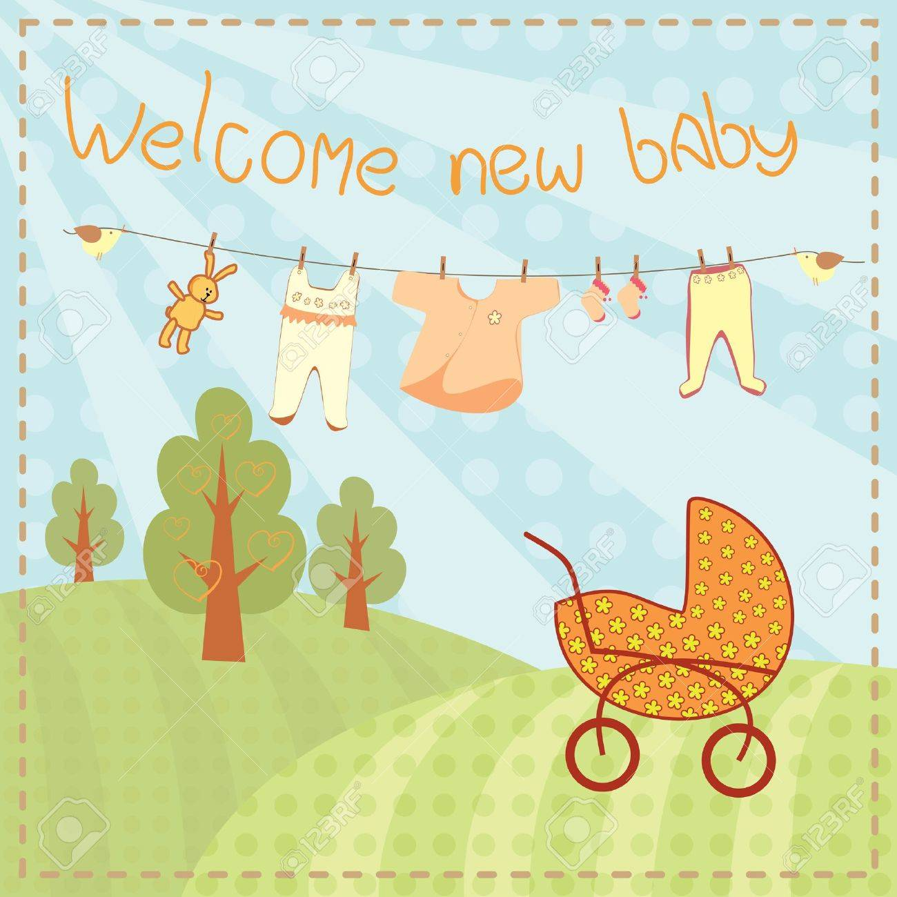 welcome new baby greeting card royalty free cliparts vectors and