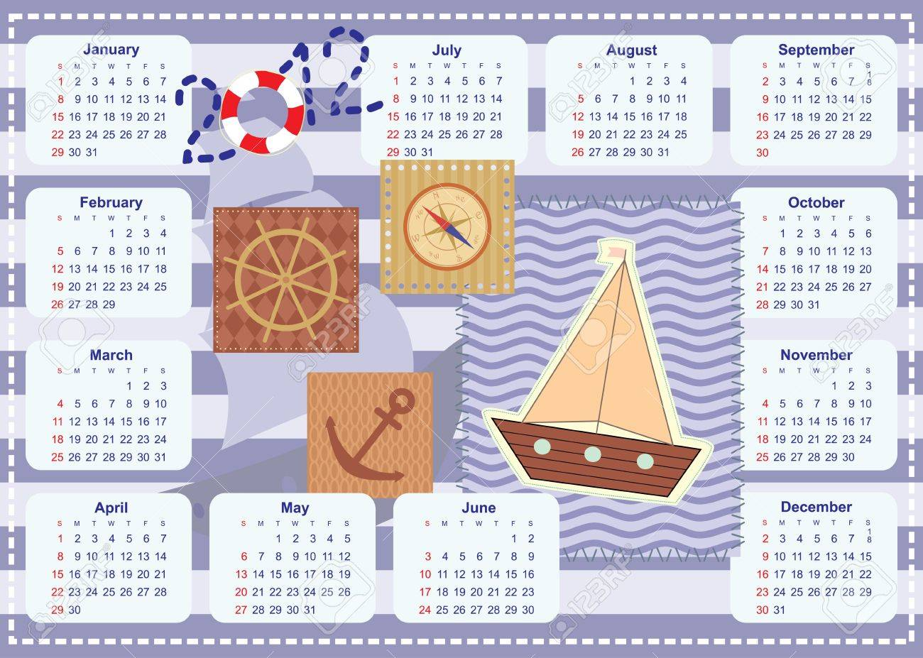 calendar for the year 2012 for little sailor Stock Vector - 14317486