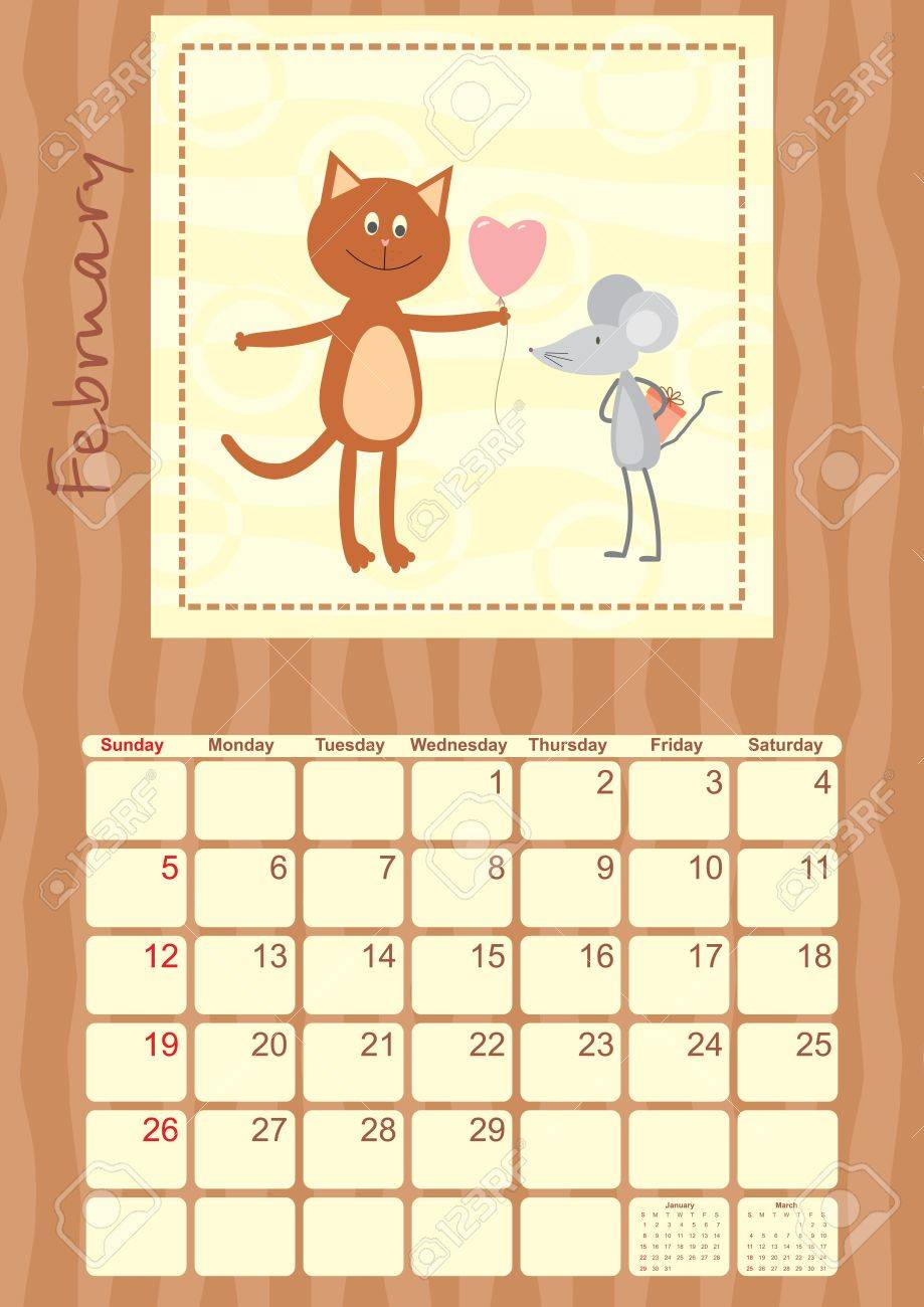 calendar month of February 2012 Stock Vector - 14317916