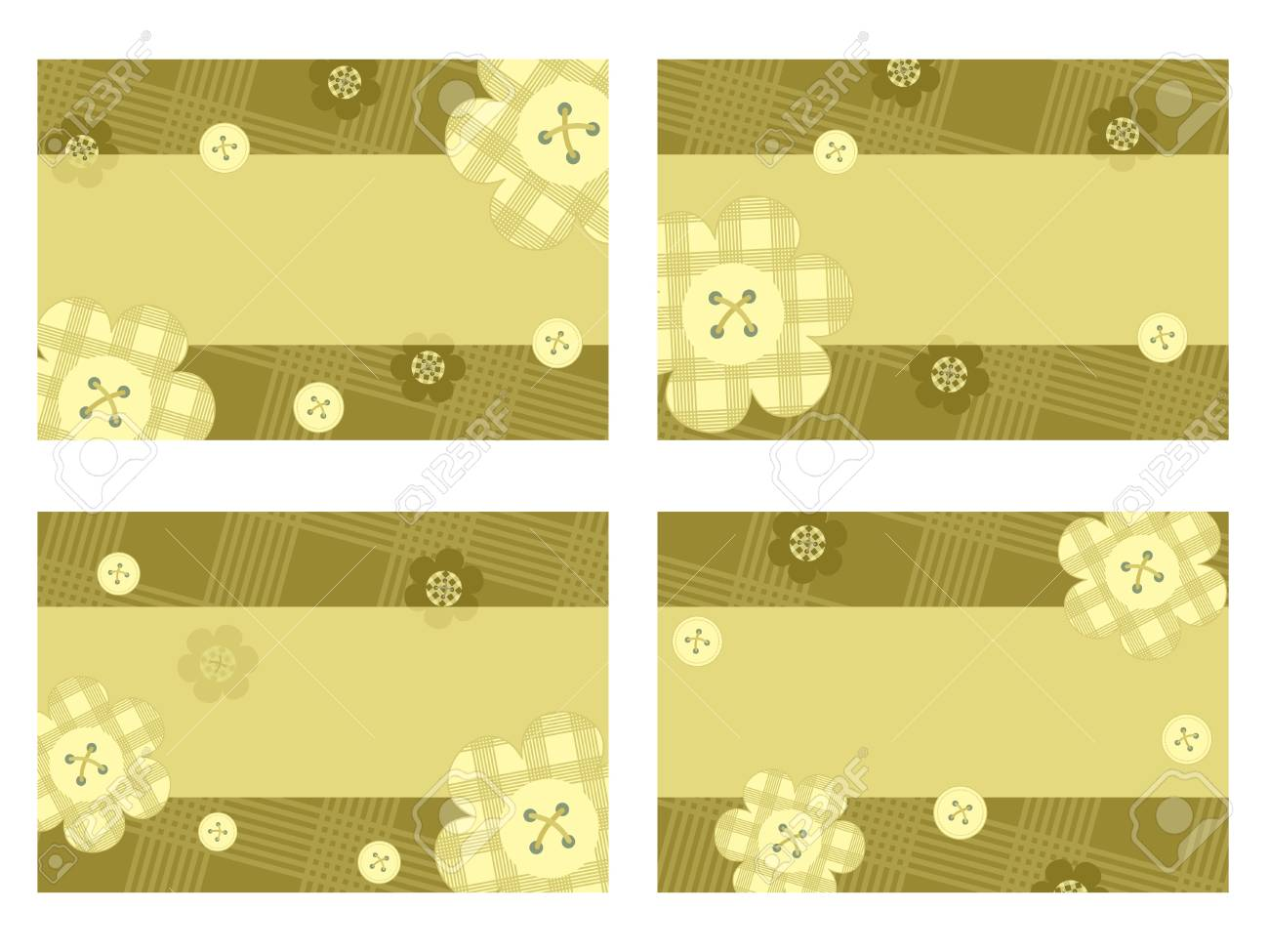 collection of horizontal cards with flowers Stock Vector - 14317421