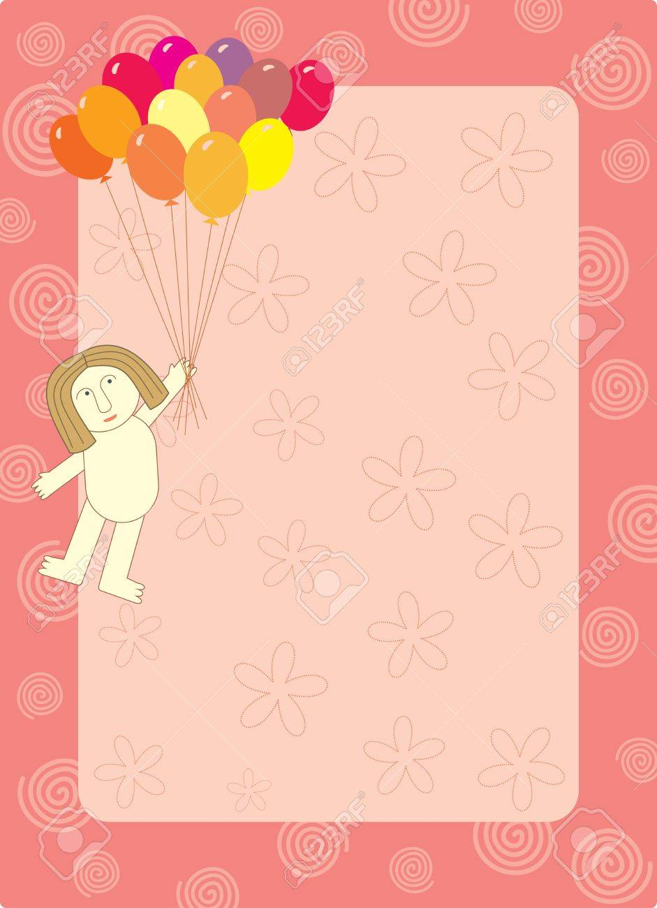 balloon flying man frame Stock Vector - 14130622