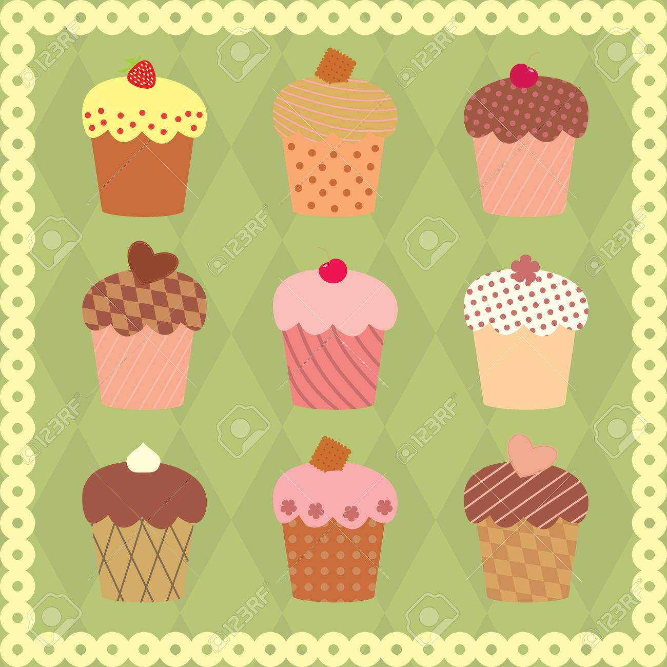 collection of decorated cakes Stock Vector - 14083572