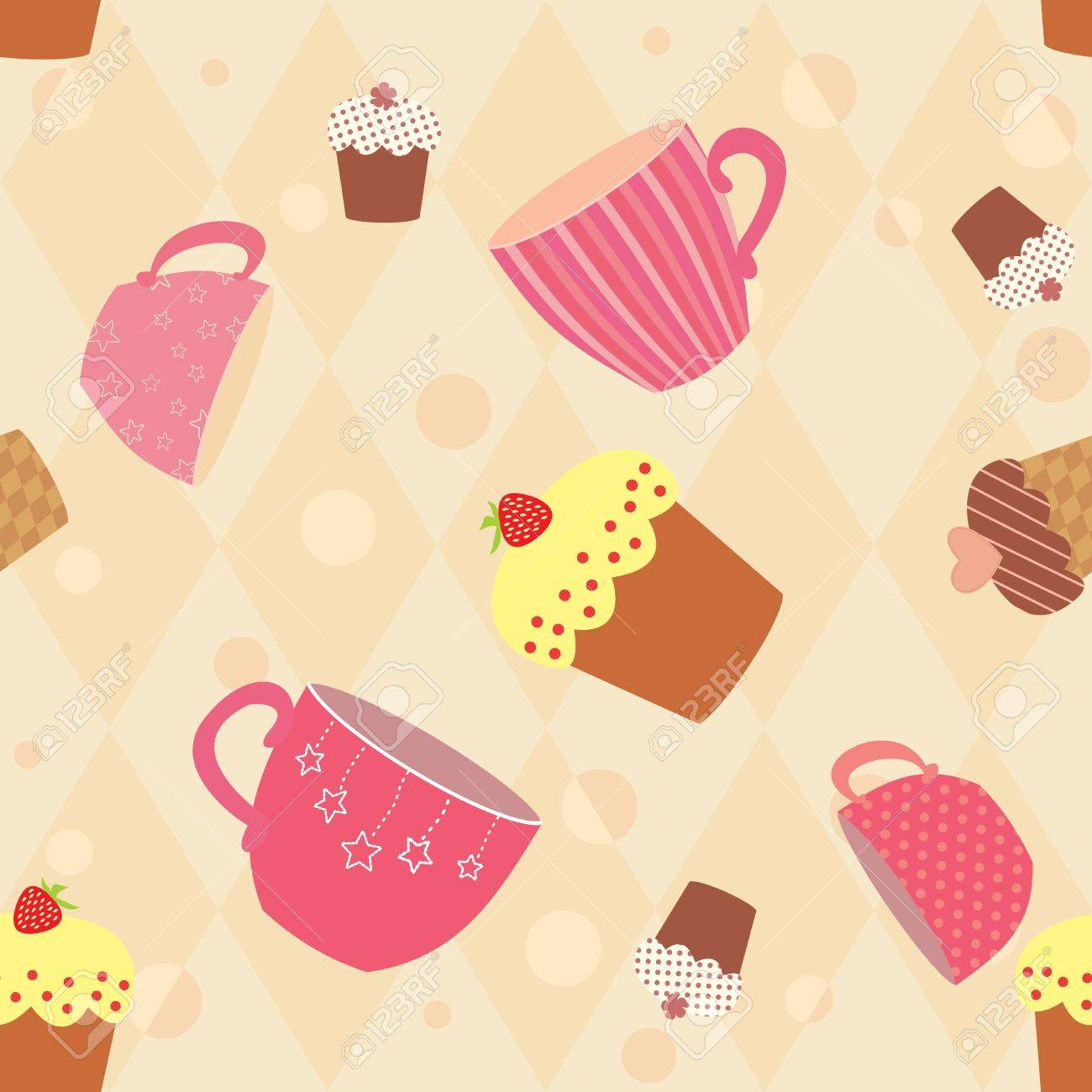 seamless pattern with decorated cups and cakes Stock Vector - 14130614