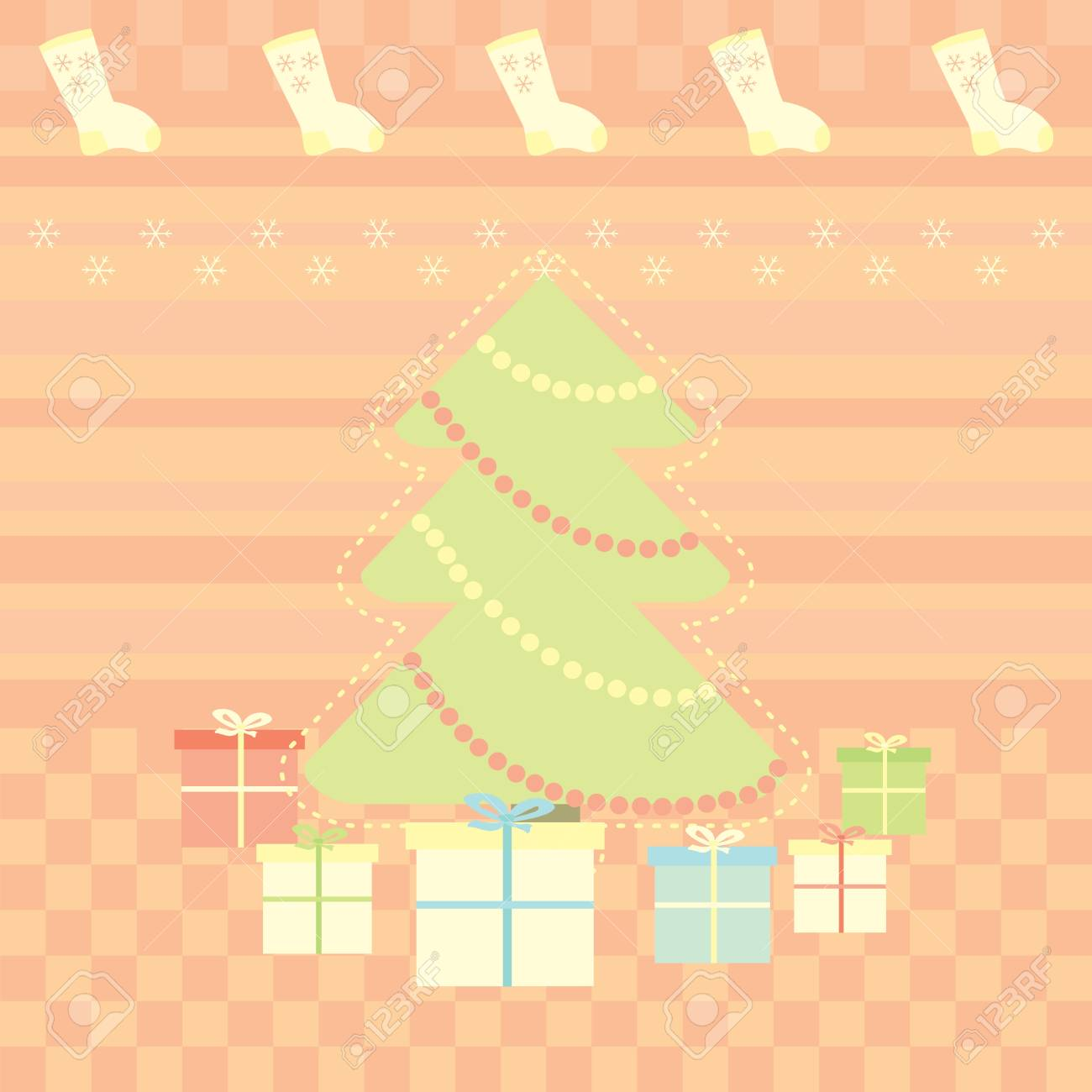 Christmas greeting  card with gifts Stock Vector - 14083580