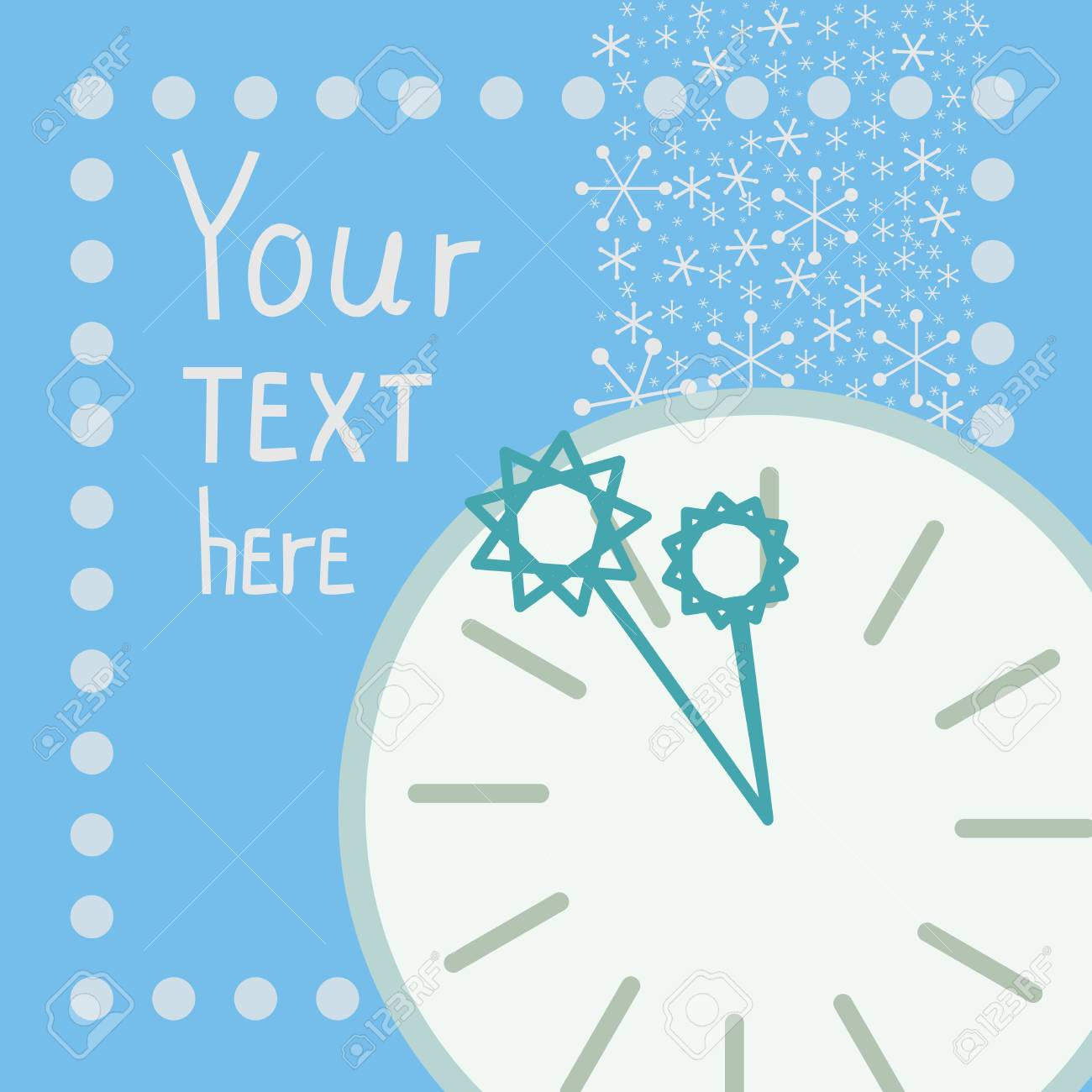 blue background with snowflakes, round clock and arrows Stock Vector - 14083885