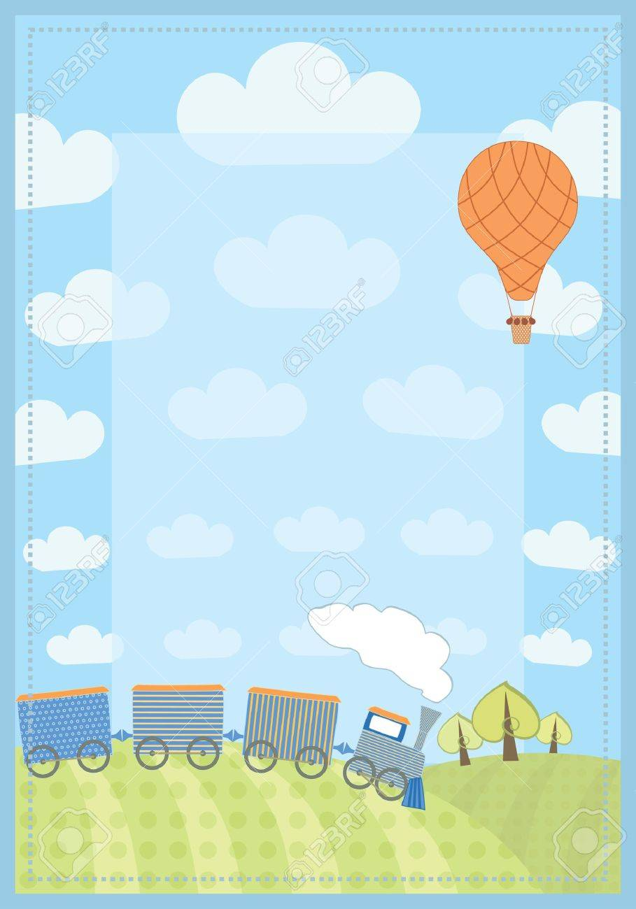kid s frame with train and balloon Stock Vector - 14083832