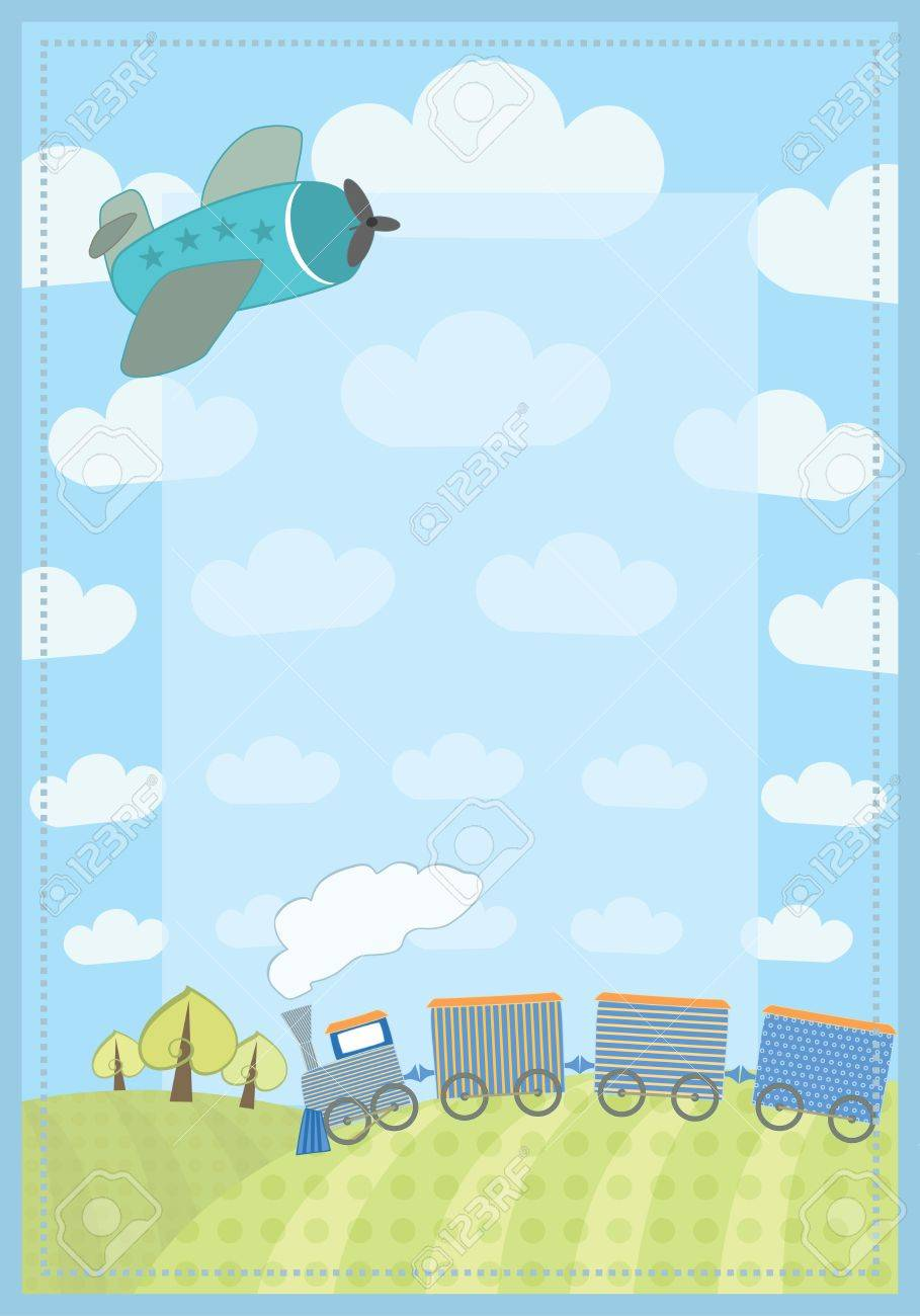 Kid s frame with train and plane royalty free cliparts vectors kid s frame with train and plane stock vector 14083830 jeuxipadfo Gallery