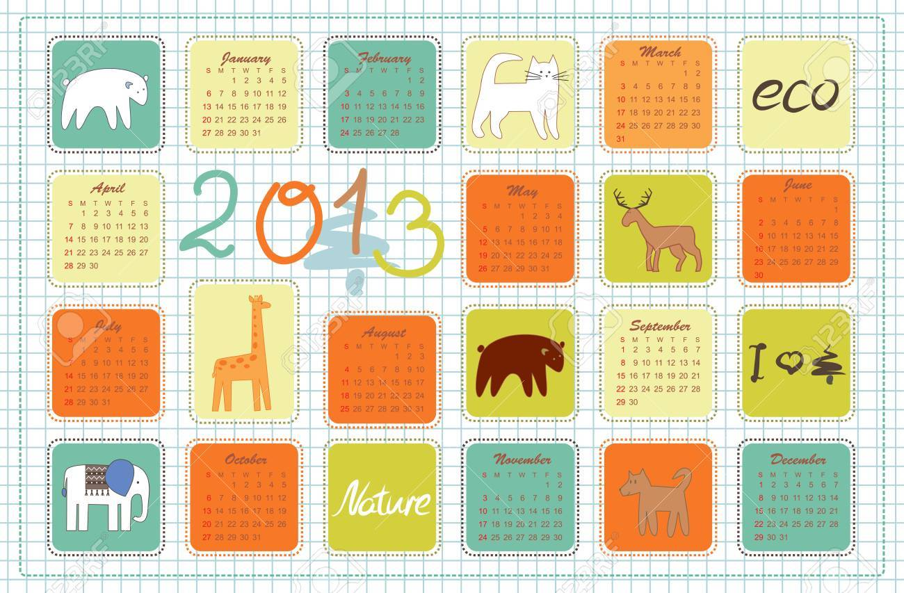 eco calendar for the year 2013 Stock Vector - 14996324