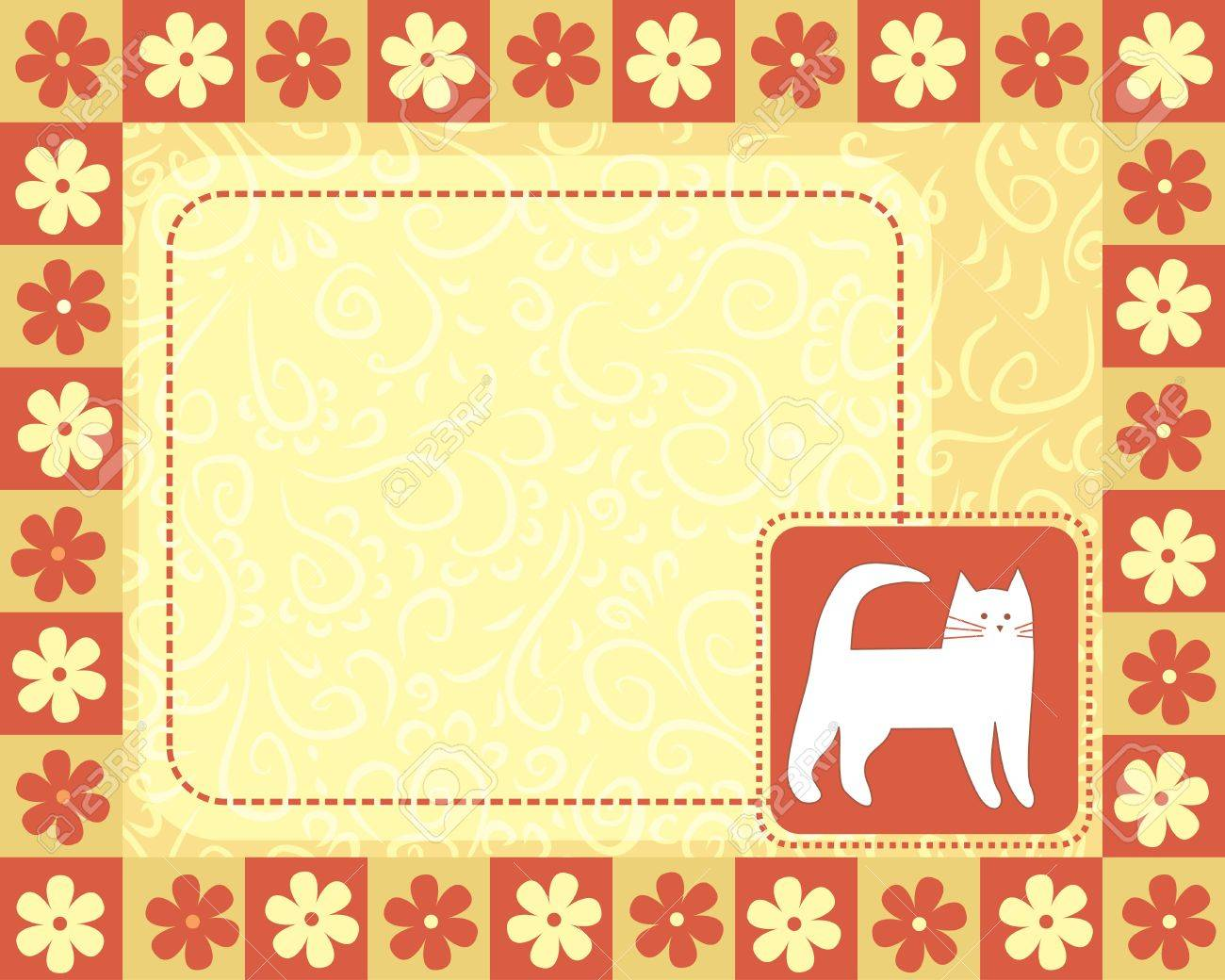 horizontal frame  with white cat Stock Vector - 16398921