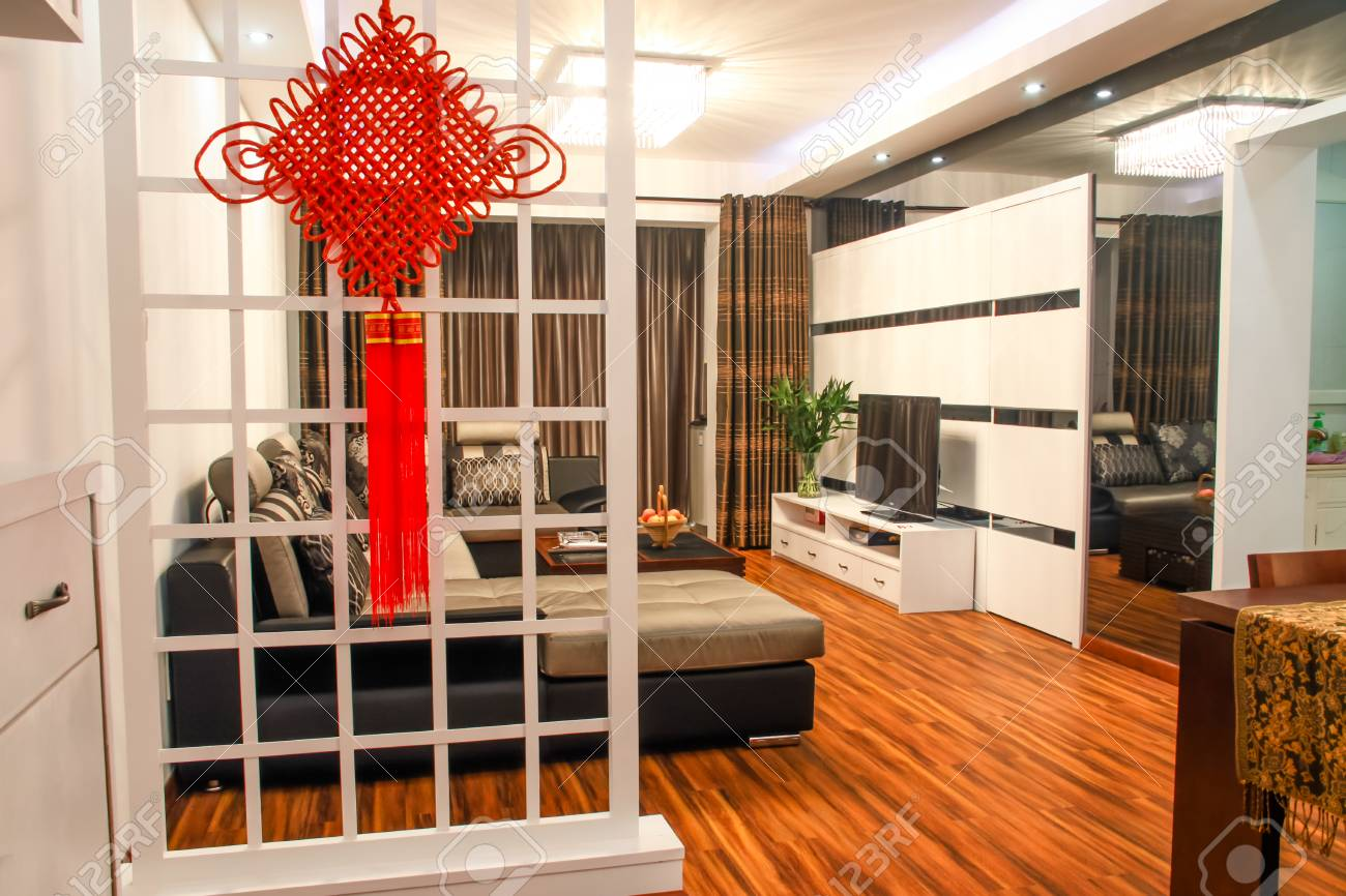 Modern Chinees Interieur : Interior of chinese modern house stock photo picture and royalty