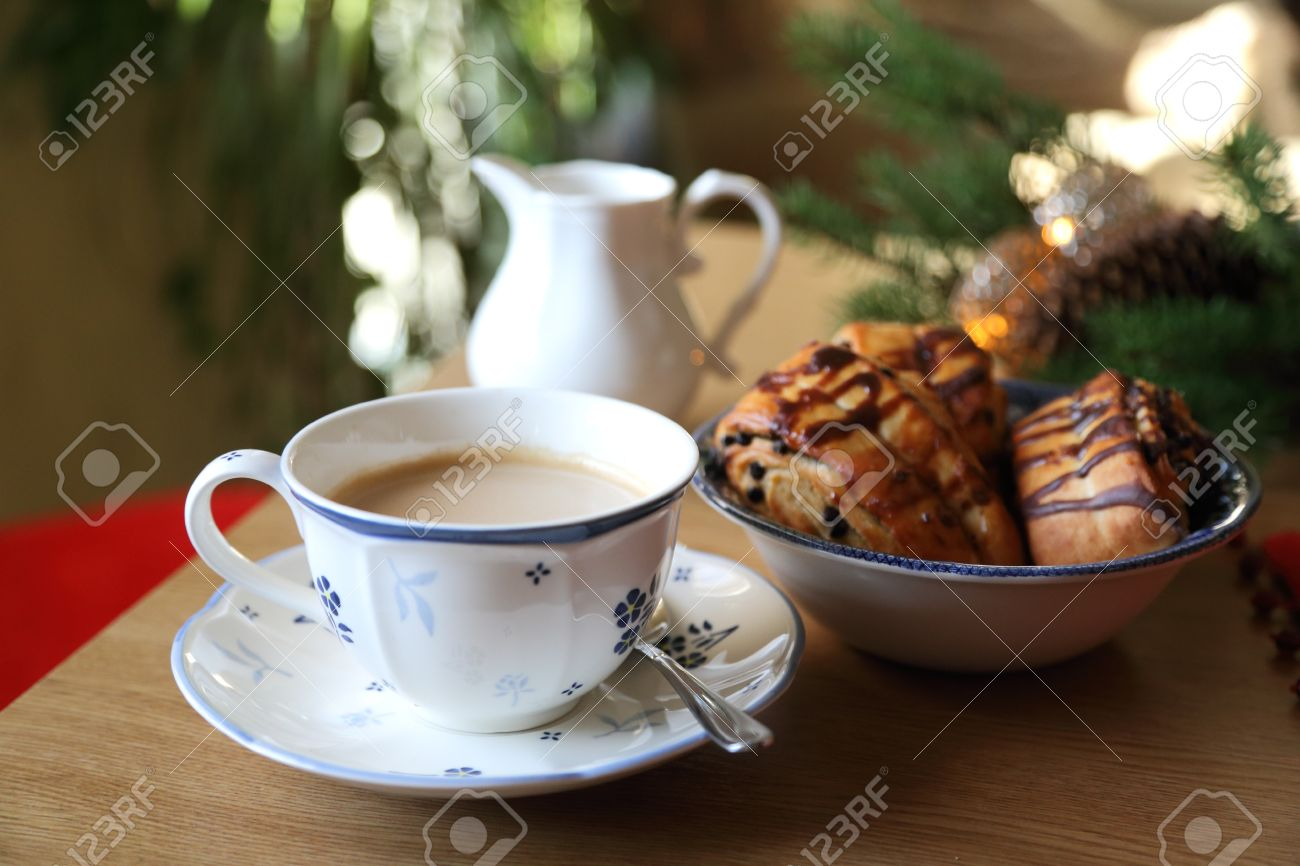 Coffee Christmas Morning.European Christmas Morning Breakfast Coffee And Chocolate Cake