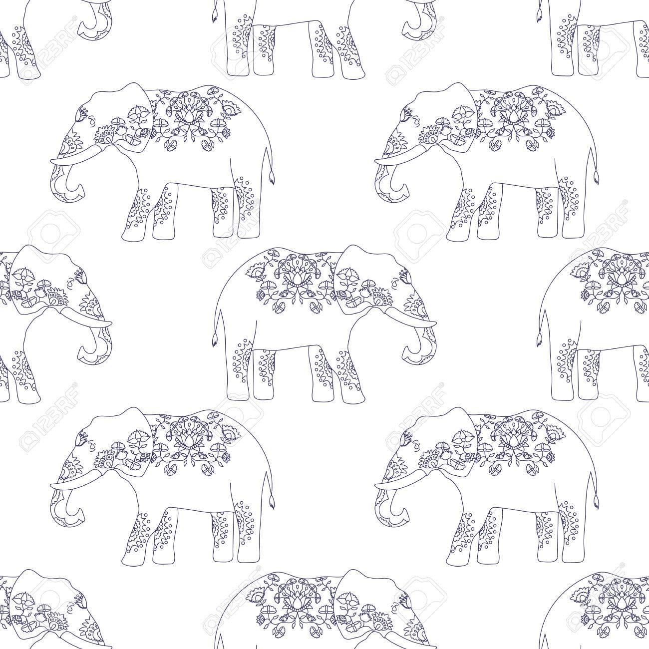 Beste Nahtloses Muster Mit Indischen Elefanten Mit Schönen Muster WM-41