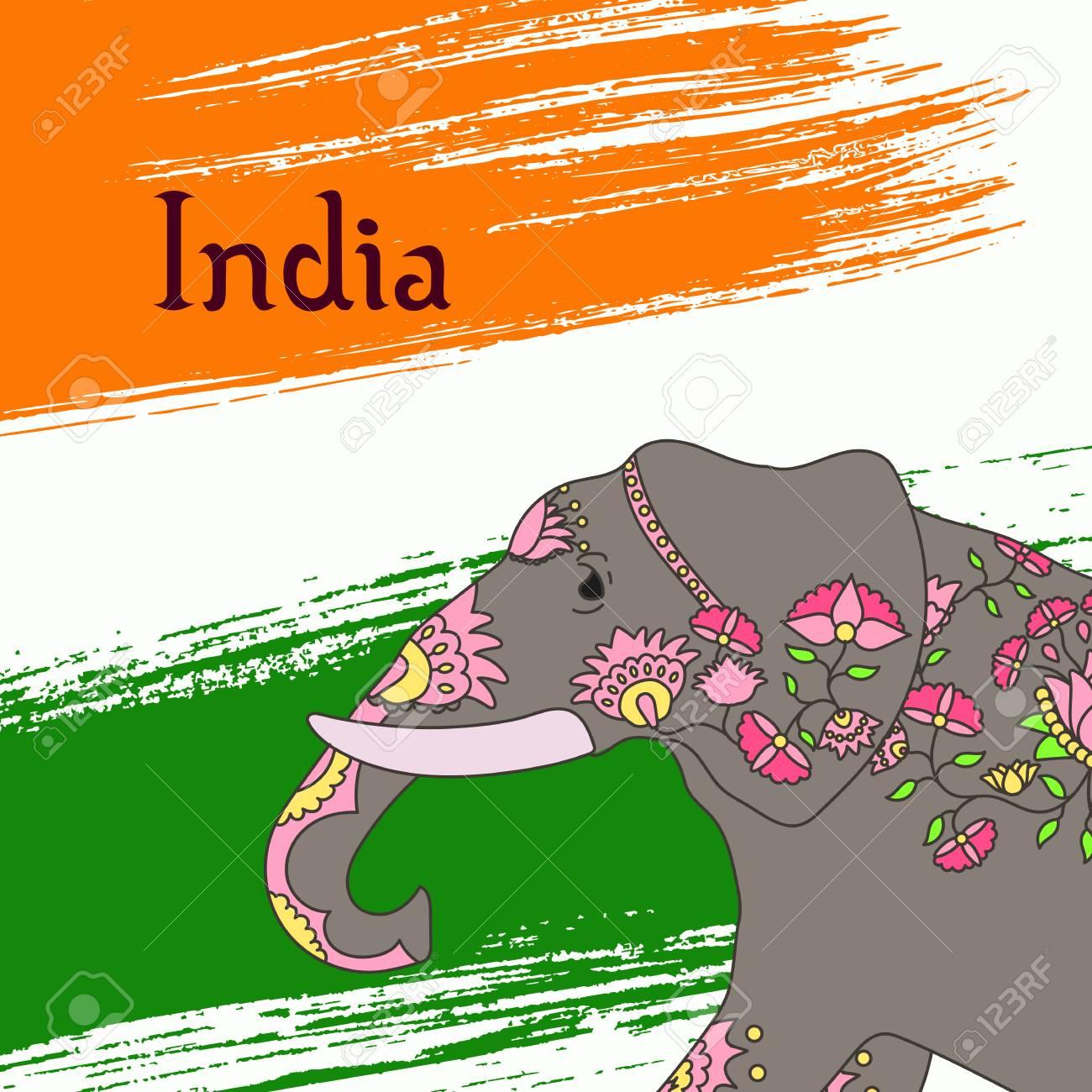 Indische Elefanten Mit Schönen Muster Vorlage Für Karte Poster