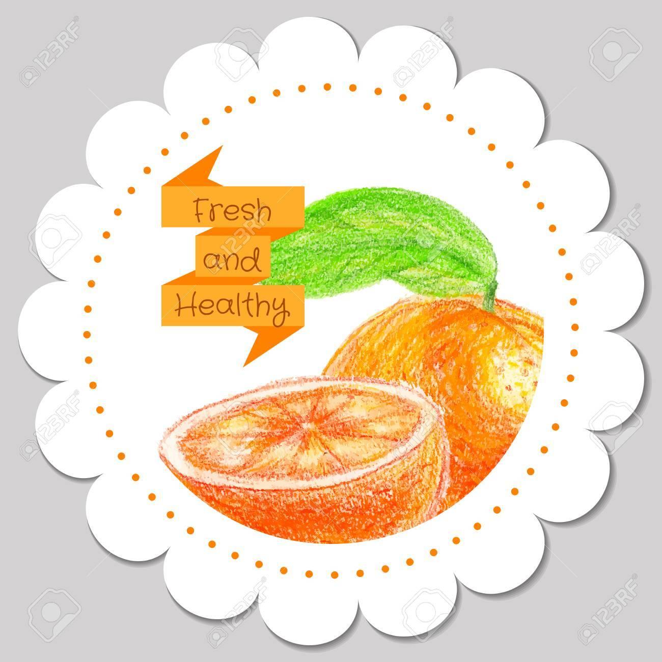 Plantilla De La Pegatina. Naranja Sana Y Fresca. Plantilla Para ...