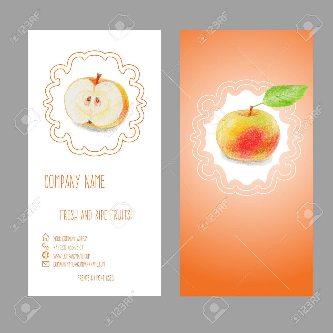 Business Card With Apple Drawn With Color Pencils. Elegant Fruit ...
