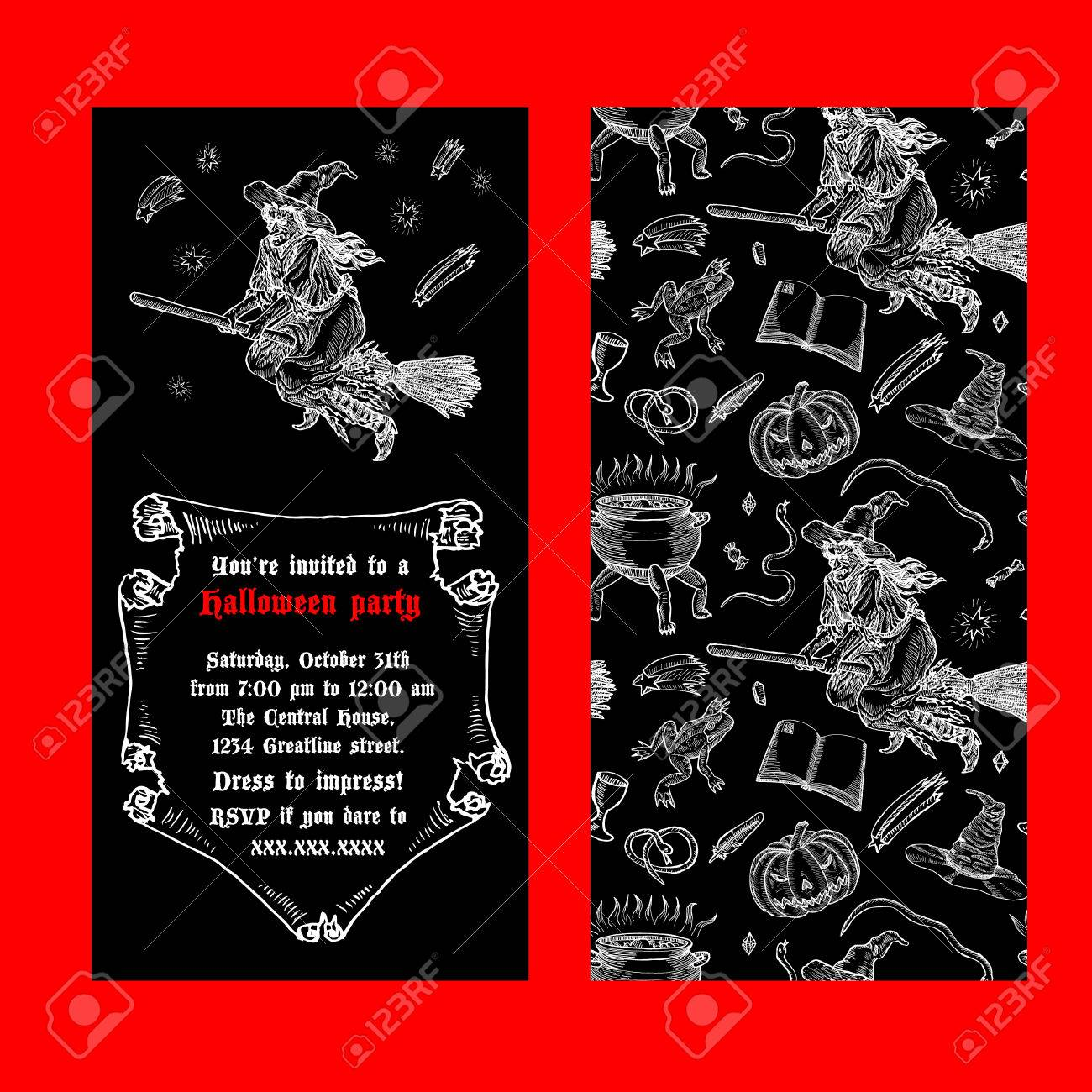 Medieval engraving style halloween invitation ink line illustration medieval engraving style halloween invitation ink line illustration with animals objects and characters for stopboris Image collections