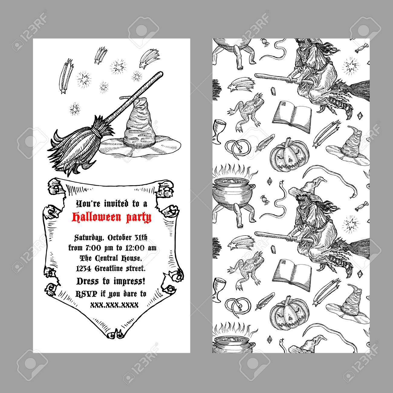 Medieval engraving style halloween invitation ink line illustration medieval engraving style halloween invitation ink line illustration with animals objects and characters for stopboris