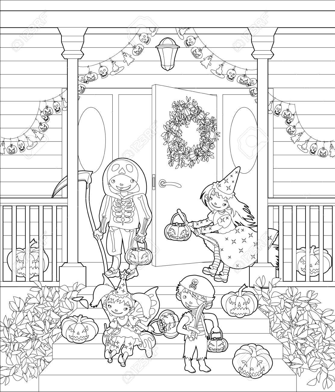 Coloring Pages Costumed Kids Dressed Up For Trick Or Treat