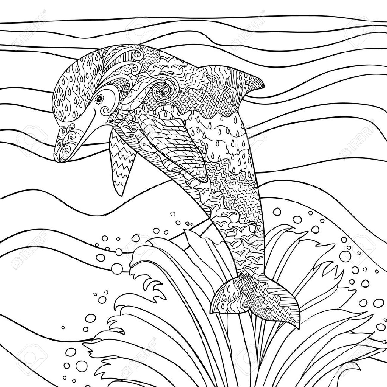 happy dolphin with high details antistress coloring page