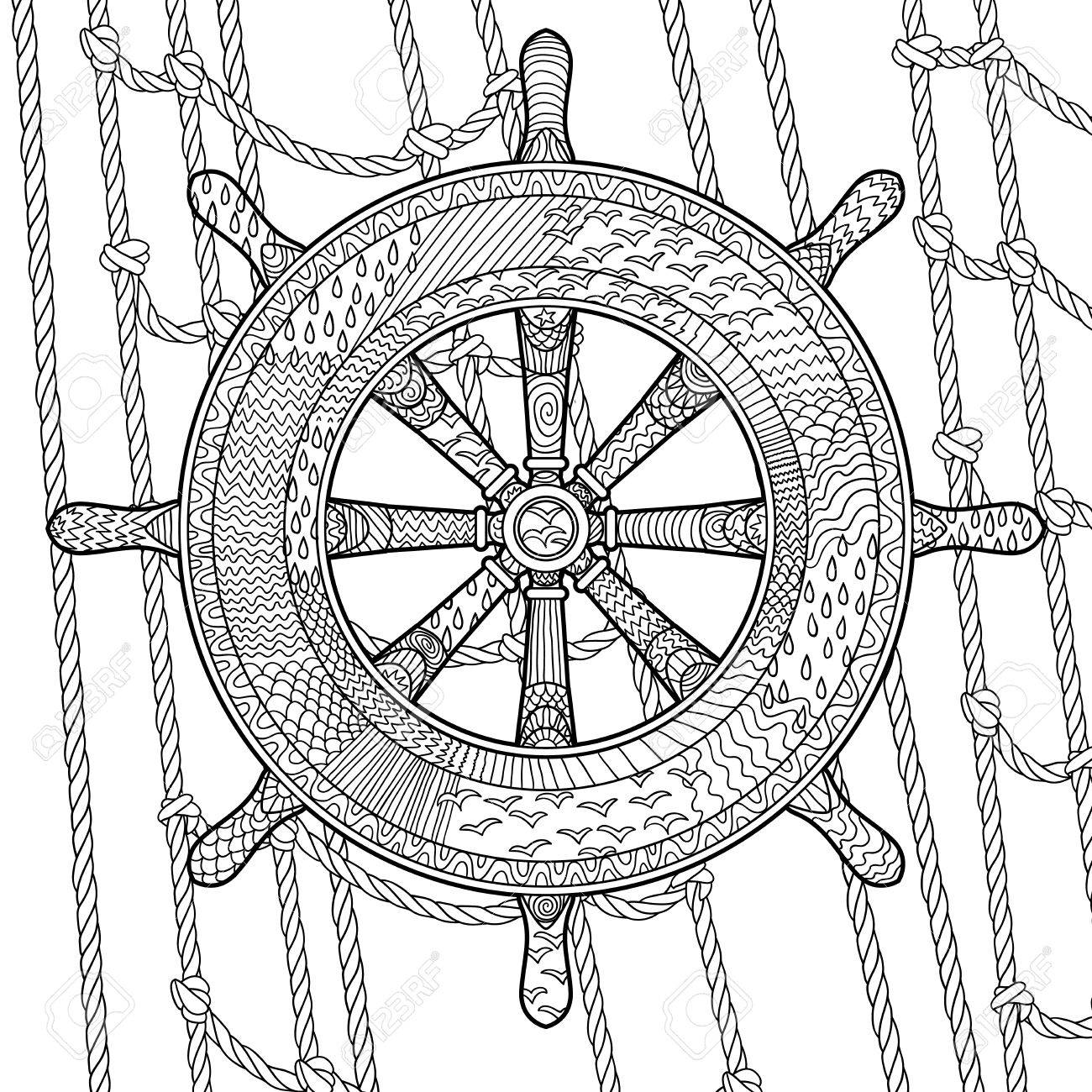 Hand drawn illustration of an helm in the zentangle style. Adult antistress coloring page with marine handwheel. Vector illustration. - 48144395