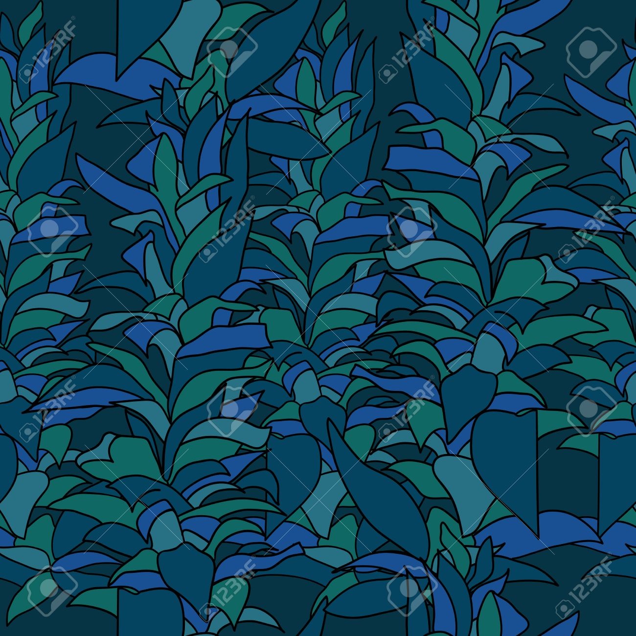 Marine Algae Seamless Pattern Repetition Texture With Underwater
