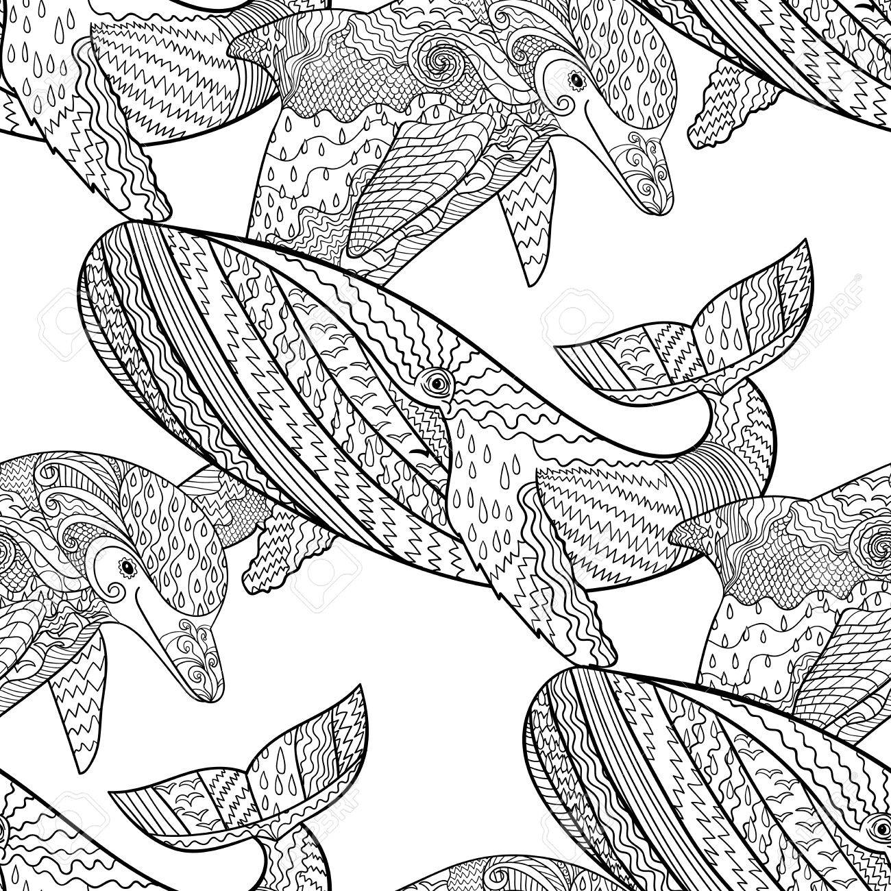 oceanic animal seamless pattern hand drawn tile texture with