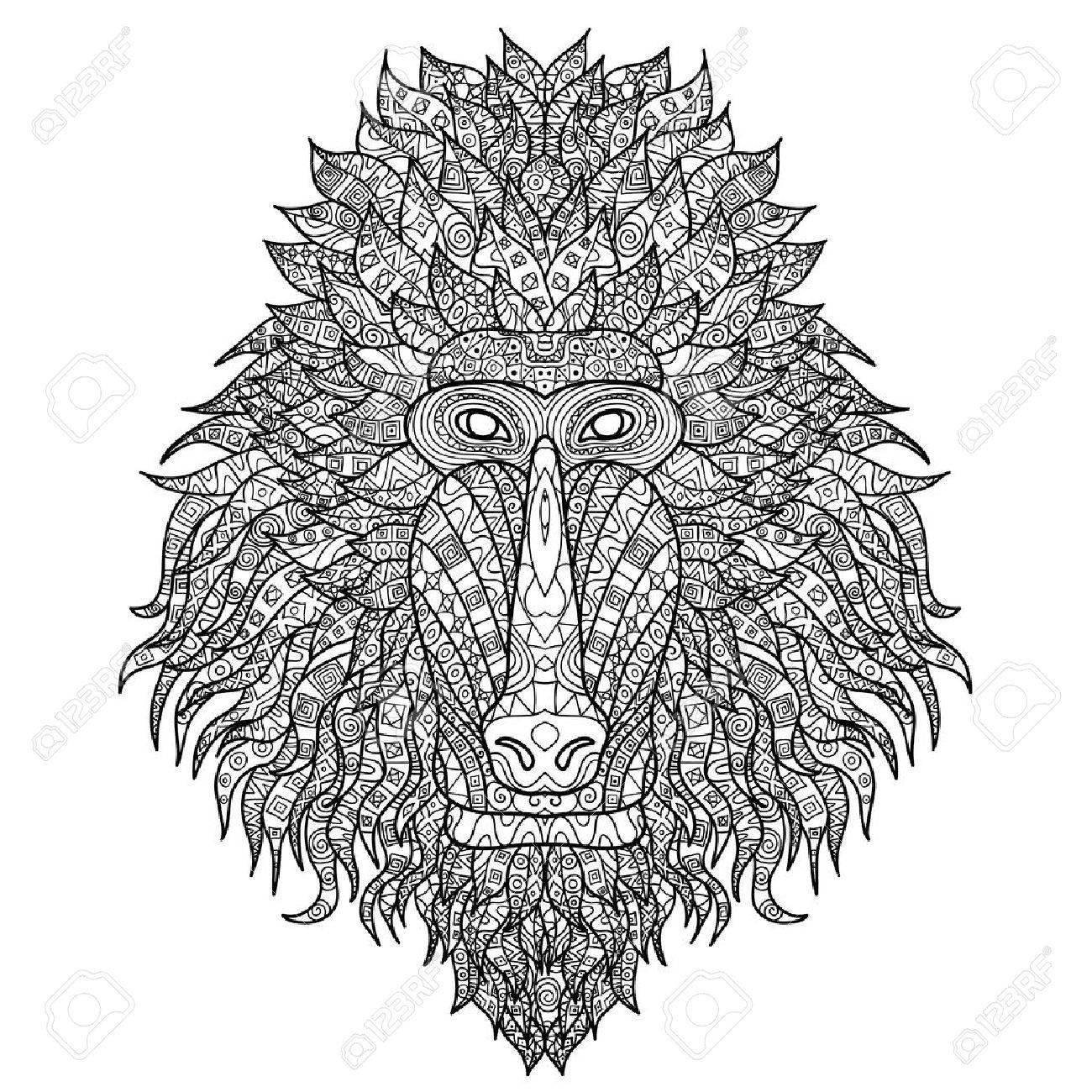 Babuino Cabeza Estilizada En Estilo. Mono Africano Con El Ornamento ...