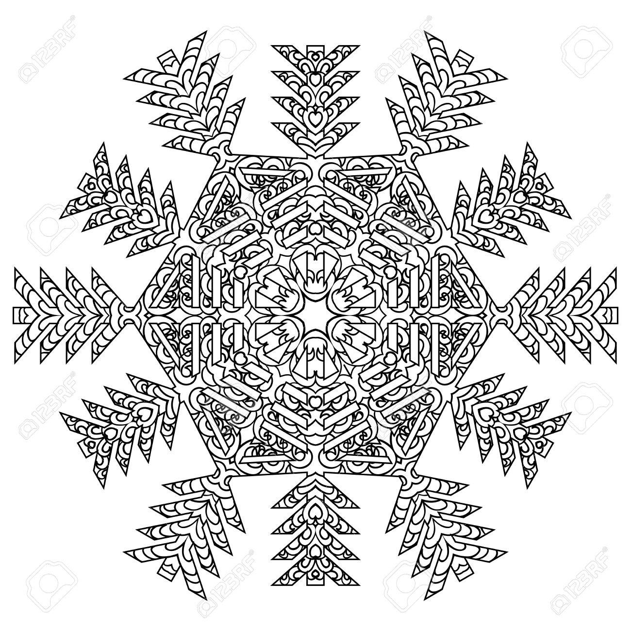 hand drawn antistress snowflake template for cover poster
