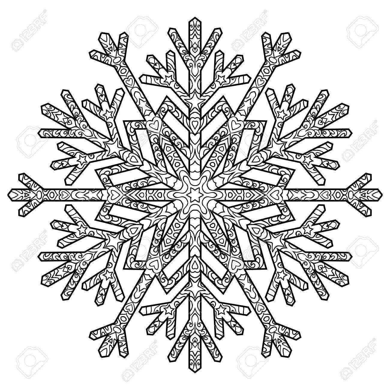 Hand Gezeichnet Antistress-Schneeflocke. Vorlage Für Die Abdeckung ...