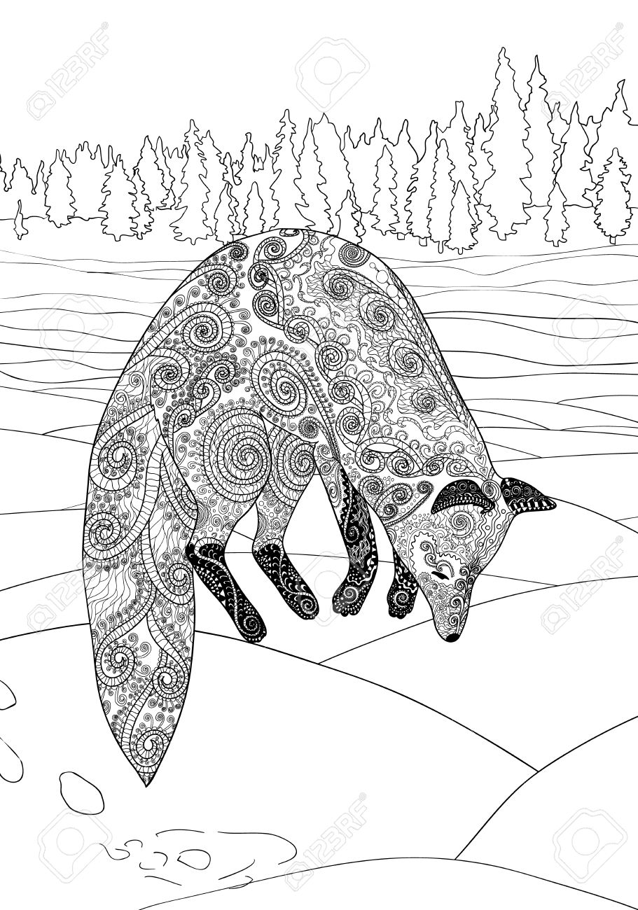 fox hunt coloring page for antistress art therapy jumping
