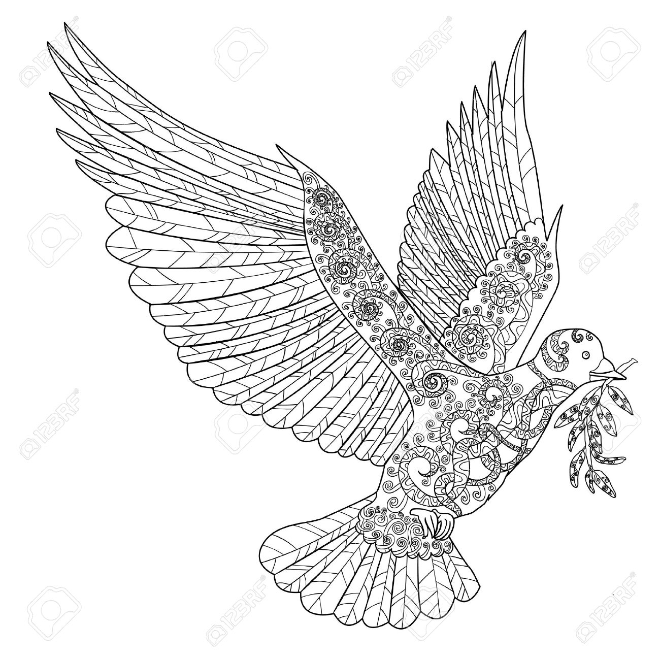 Flying dove with olive branch. Adult antistress coloring page. Black white hand drawn doodle bird. Symbol of the Peace. Sketch for tattoo, poster, print, t-shirt Vector. - 50888308