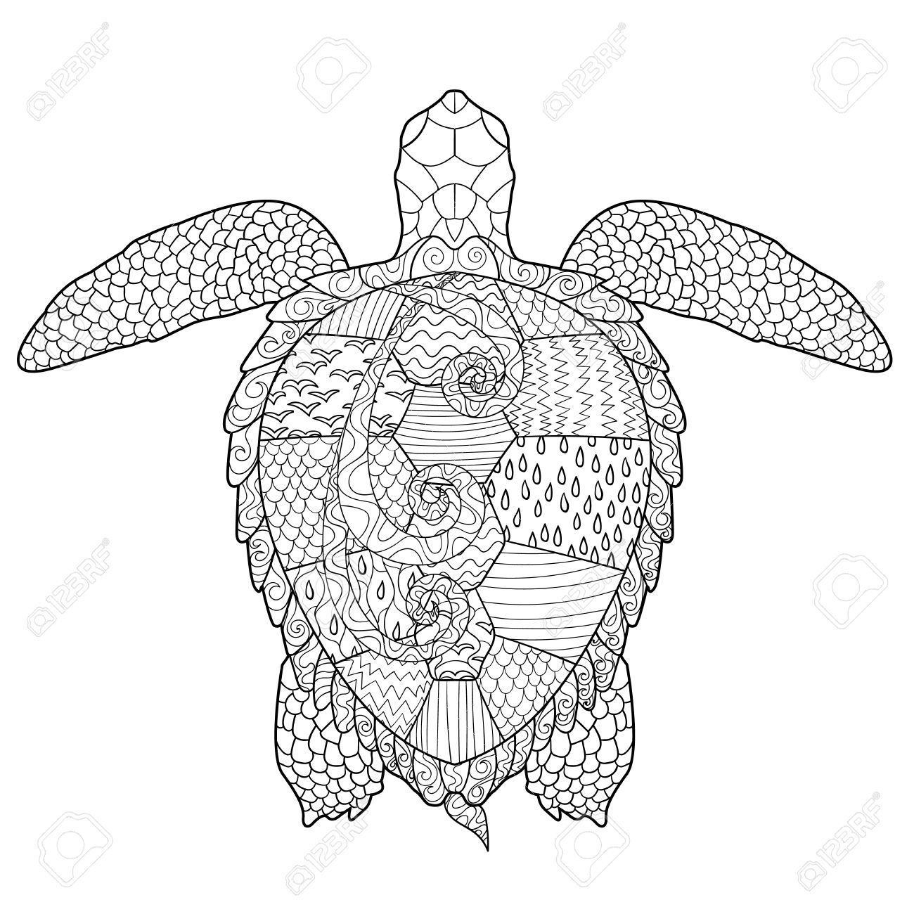 Sea turtle with high details. Adult antistress coloring page. Hand drawn doodle for art therapy. Sketch for tattoo, poster, print, t-shirt - 50897035
