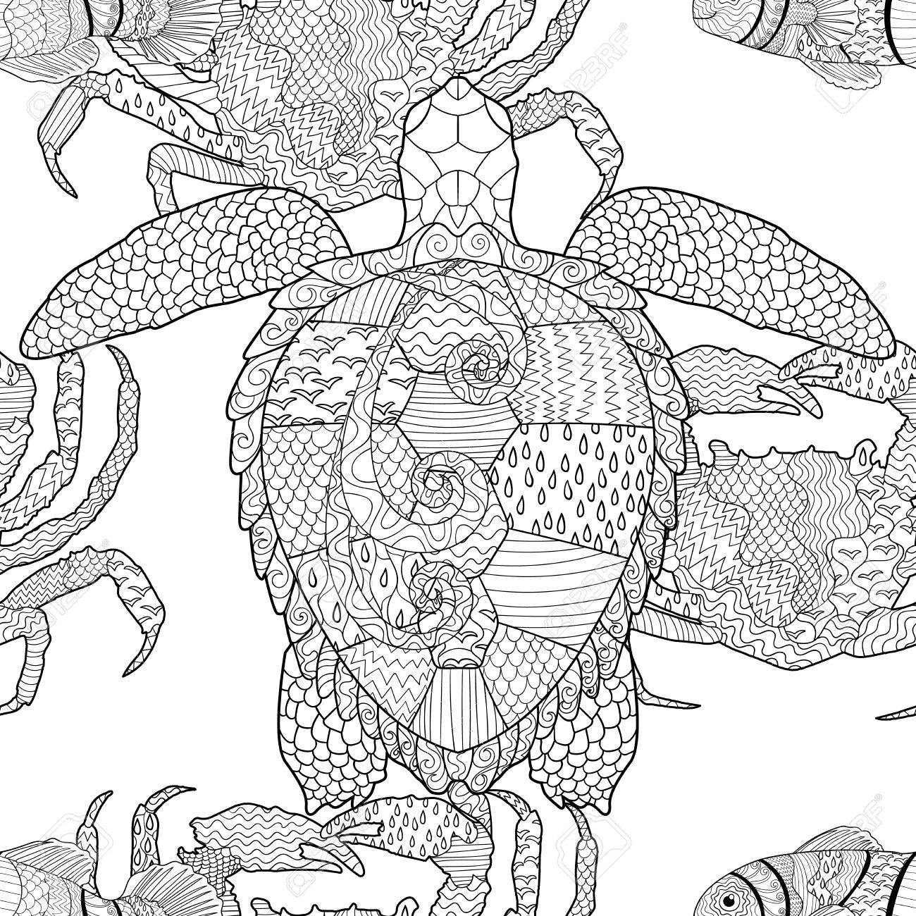 oceanic animals seamless pattern hand drawn tile texture with