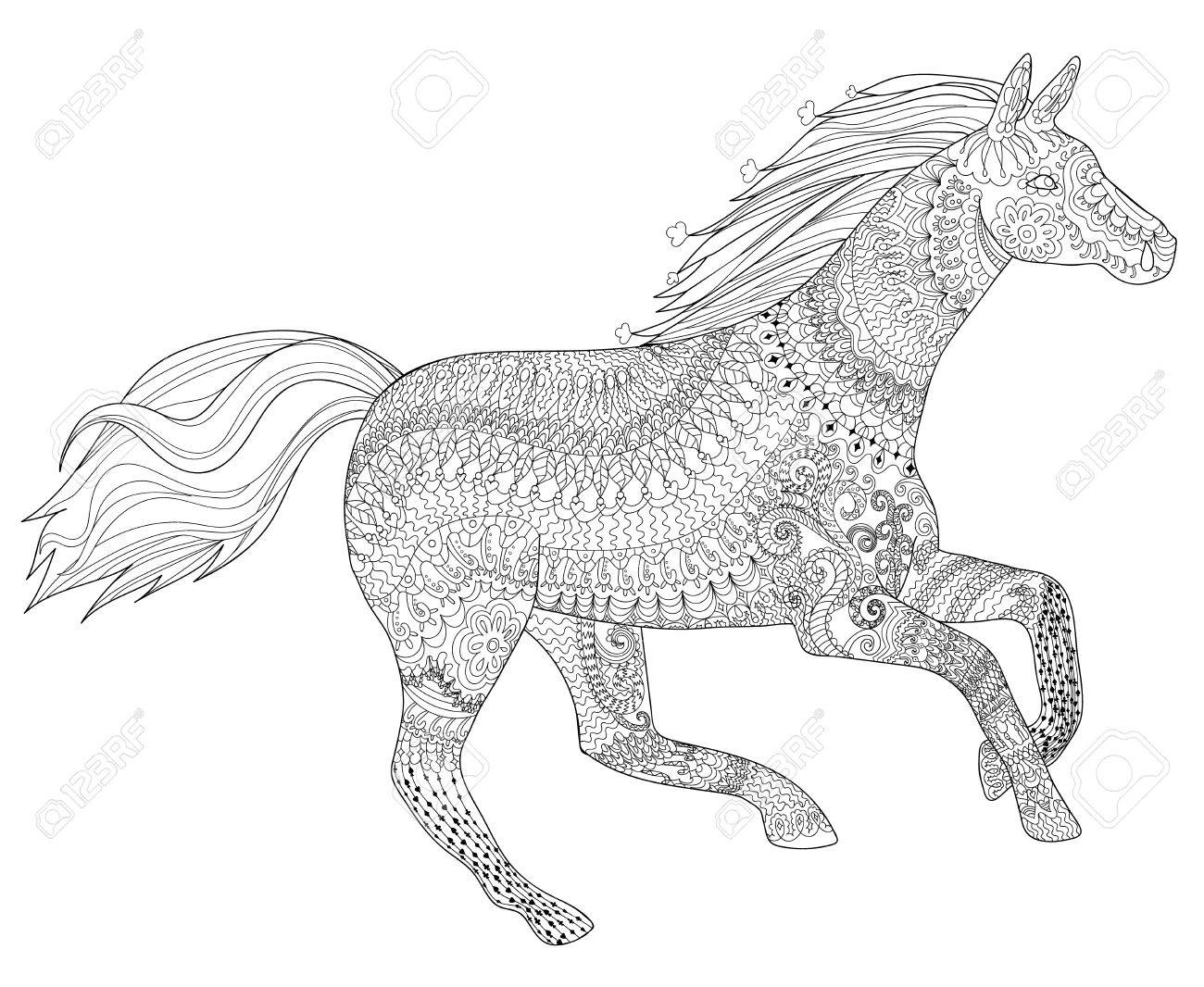 adult coloring page for antistress art therapy running horse in zentangle style template for - Running Horse Coloring Pages
