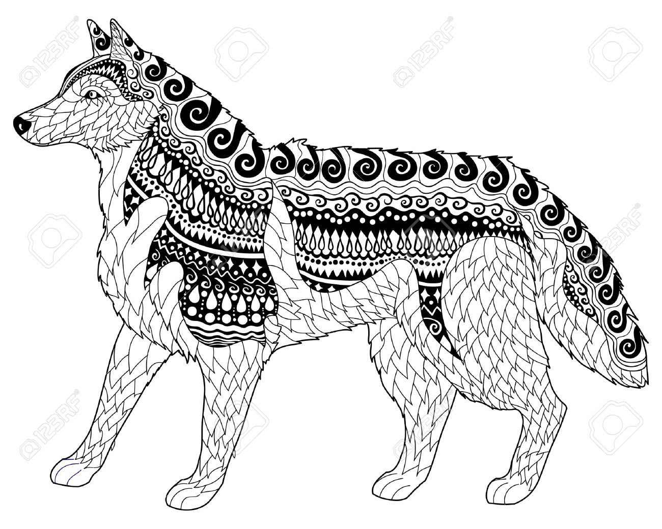 Siberian husky with high details. Adult antistress or children coloring page with dog. Hand drawn animal doodle. Sketch for tattoo, poster, print, t-shirt in style. Vector illustration - 52343865