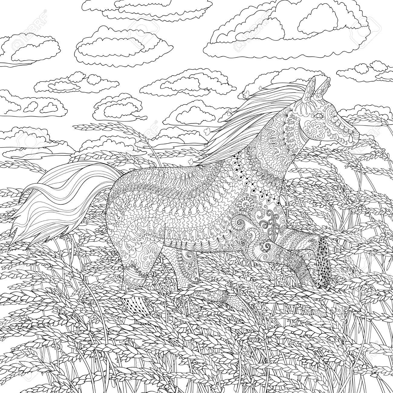 Adult Coloring Page For Antistress Art Therapy Running Horse In The