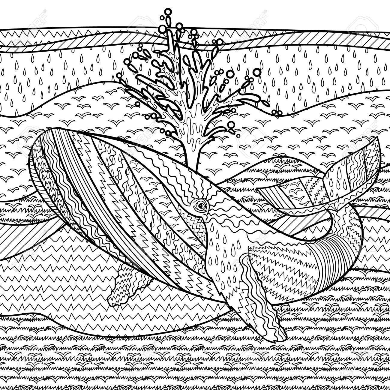 Hand Drawn Humpback Whale In The Waves For Anti Stress Coloring ...