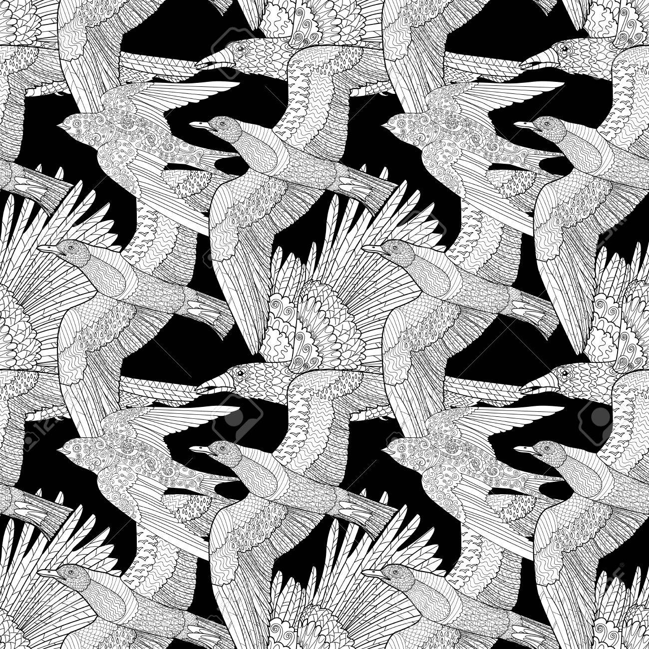 seamless pattern with flying ravenseagull and swallow with high details adult anti