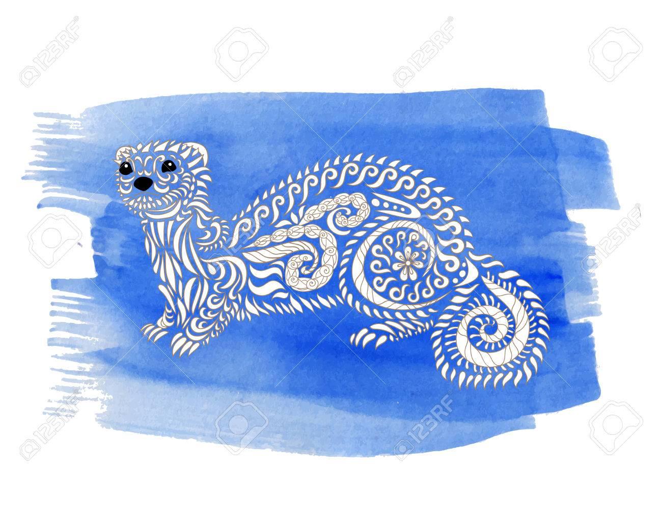 Dibujado A Mano Hurón En El Fondo De La Acuarela Dibujo Para Colorear De Arte Terapia Anti Estrés Negro Mano Blanca Dibujada Animales Zendoodle