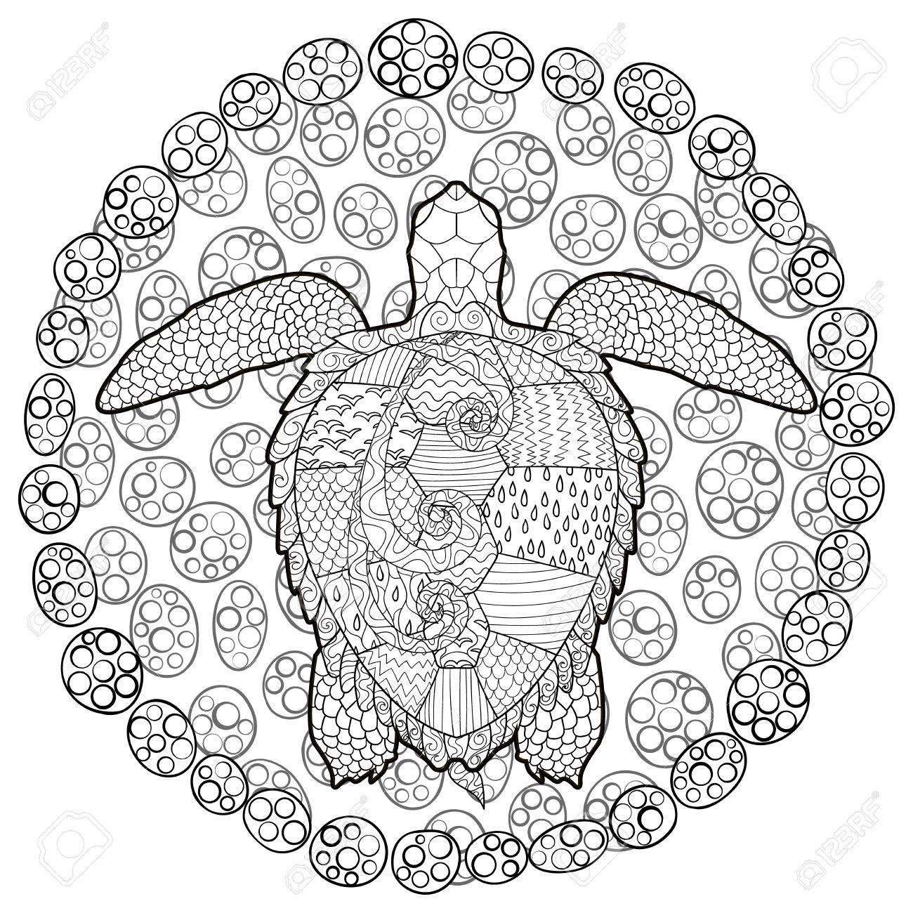 Dibujado A Mano Tortuga De Natación Con Altos Detalles Para Colorear ...