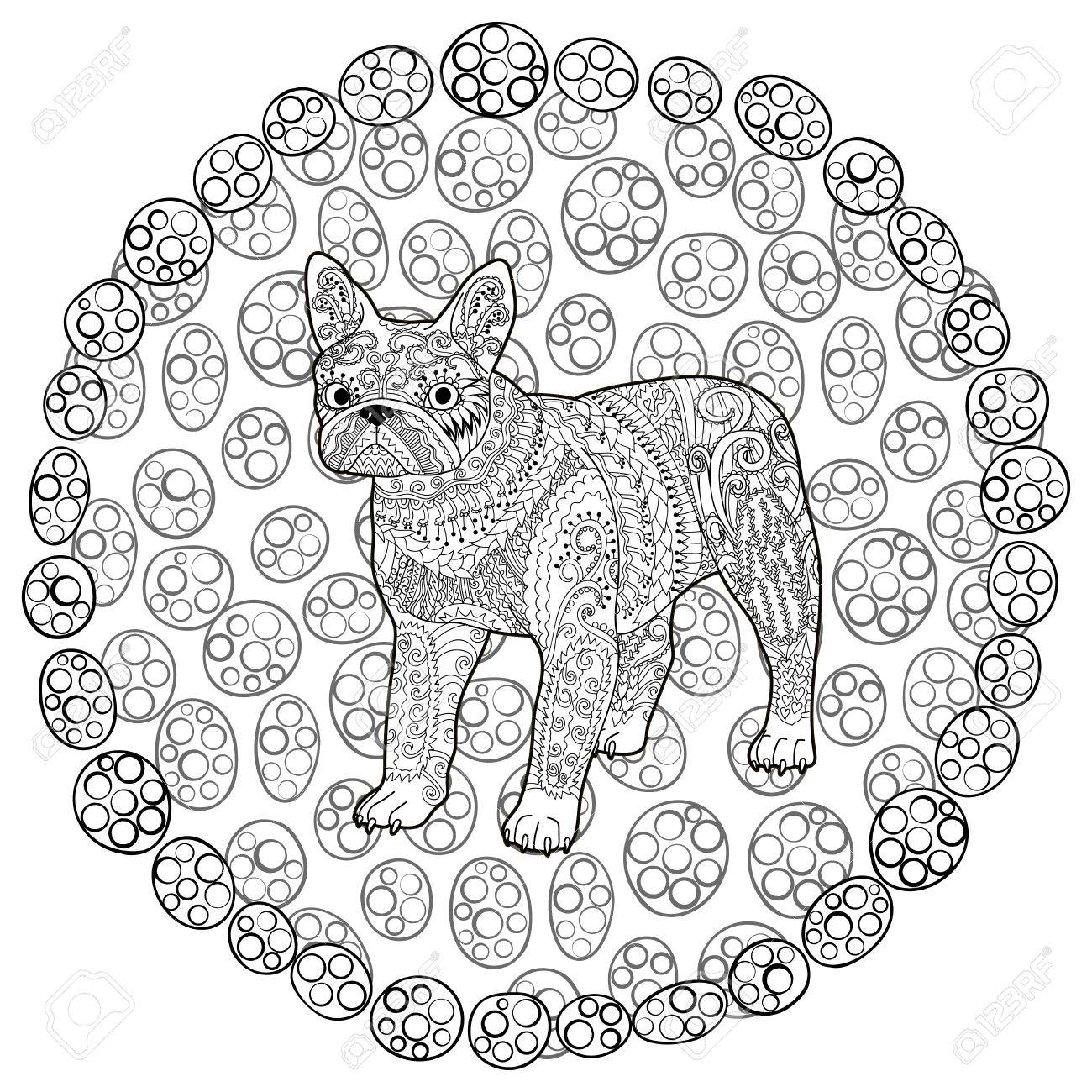 high detail patterned french bulldog in style coloring