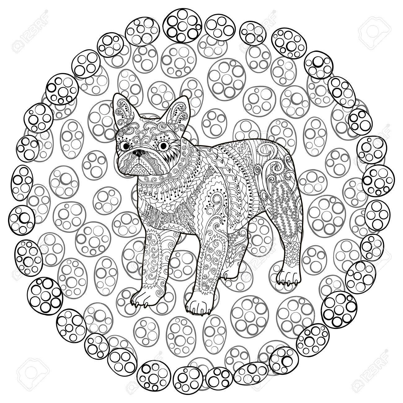 Hohe Detail Französisch Bulldog In Der Art Strukturiert. Adult ...