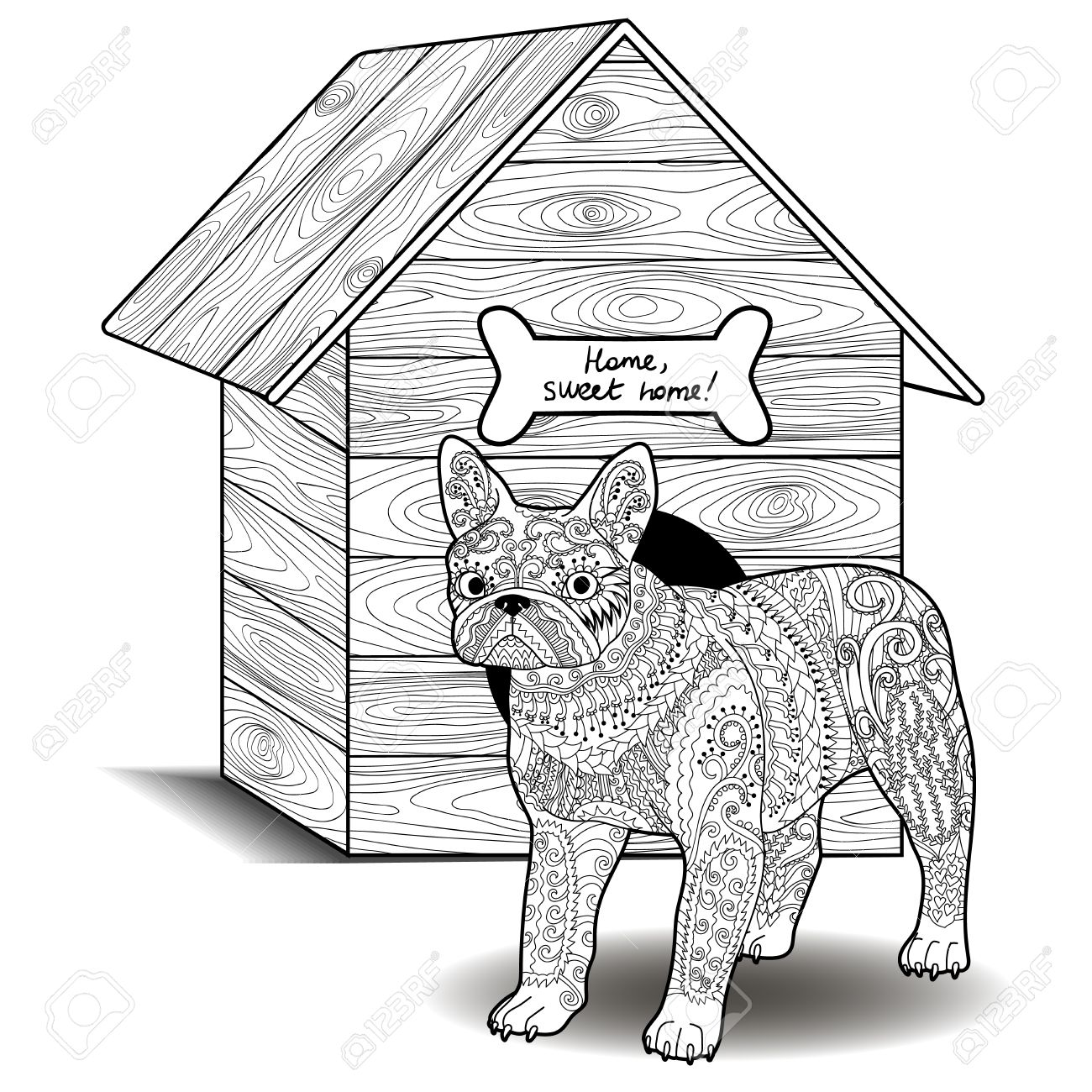Dog Standing In Front Of The Doghouse Adult Antistress Coloring Page With French Bulldog