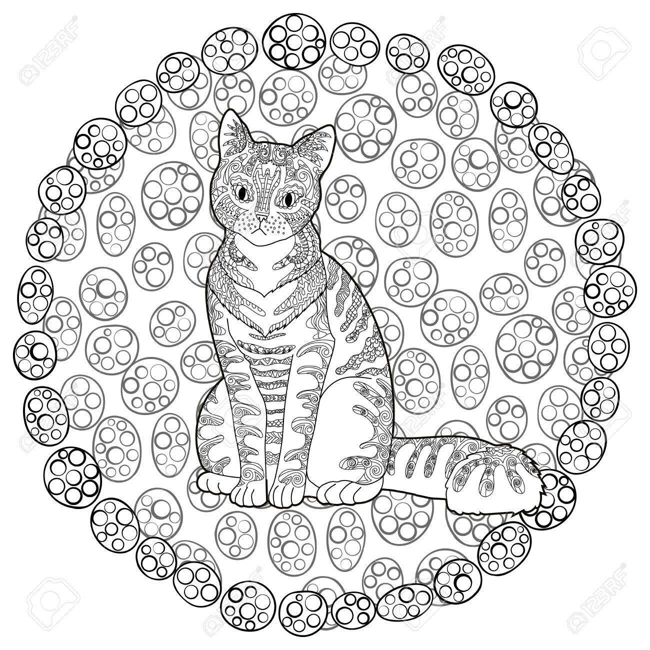 high detail patterned cat in style adult coloring page for anti stress art therapy with