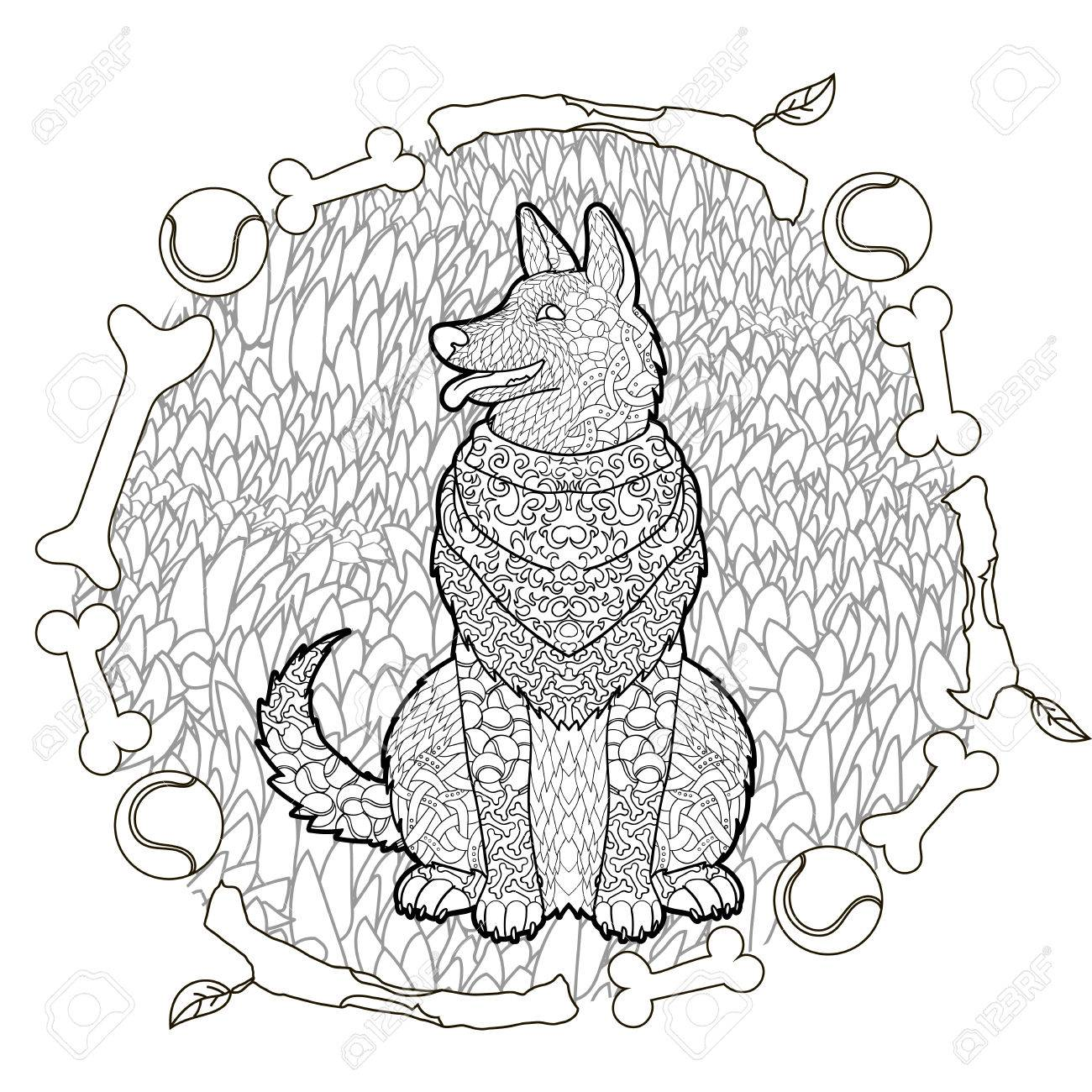 high detail patterned german shepherd in entangle style adult coloring page with a dog for - German Shepherd Coloring Pages