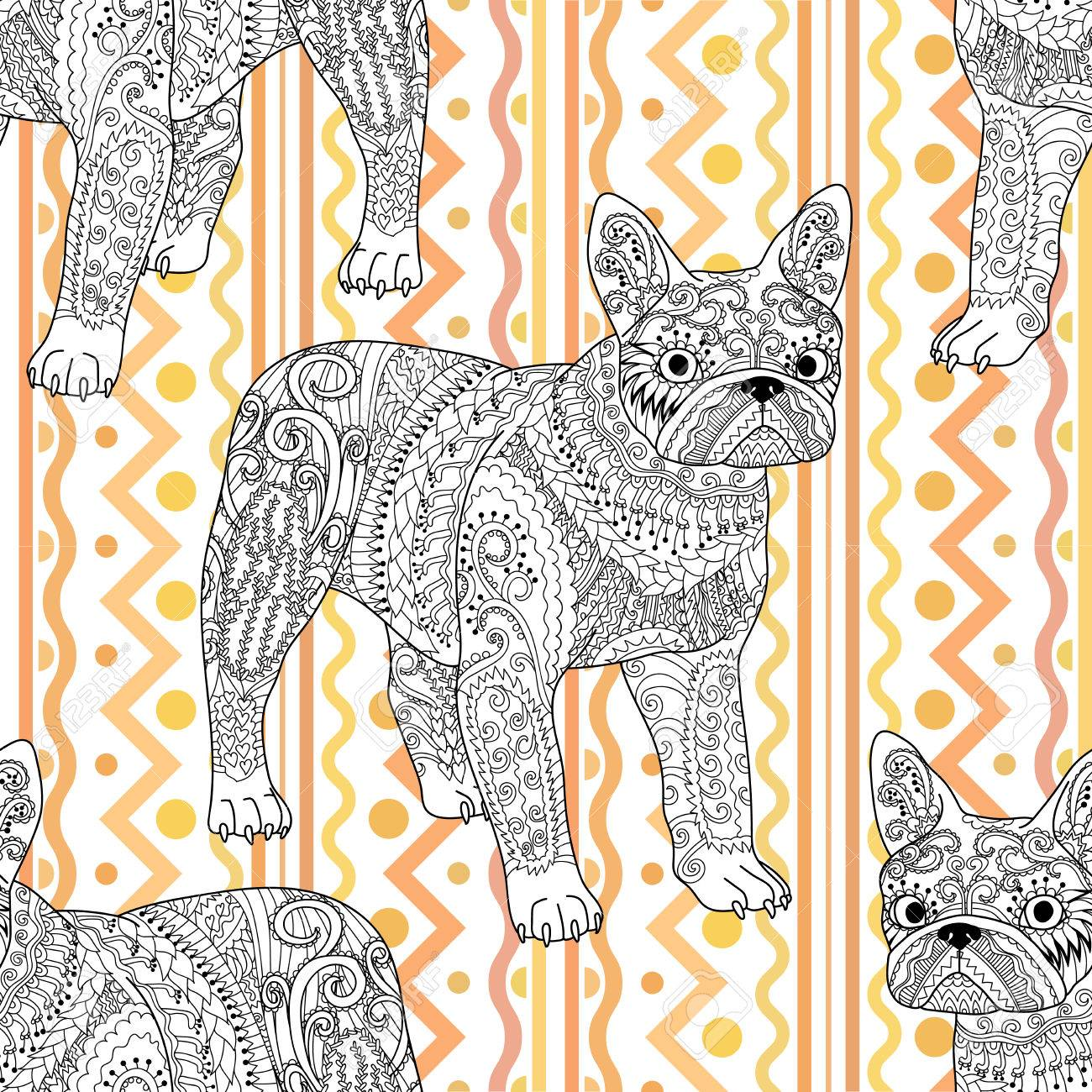 High Detailed Seamless Pattern With Pets In Style Adult Coloring