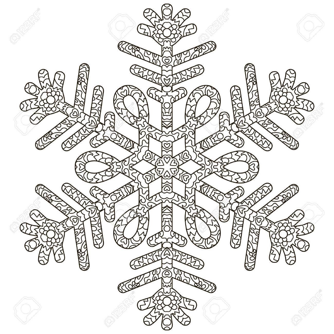 Ausmalbilder Für Erwachsene Winter : Anti Stress Schneeflocke Vorlage F R Cover Poster T Shirt Oder