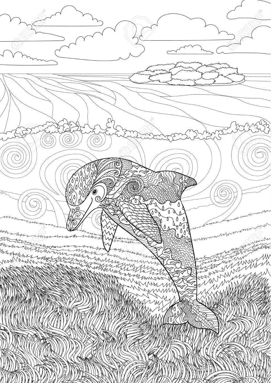 Glücklicher Delphin Mit Hohen Details. Adult Antistress Ausmalbilder ...